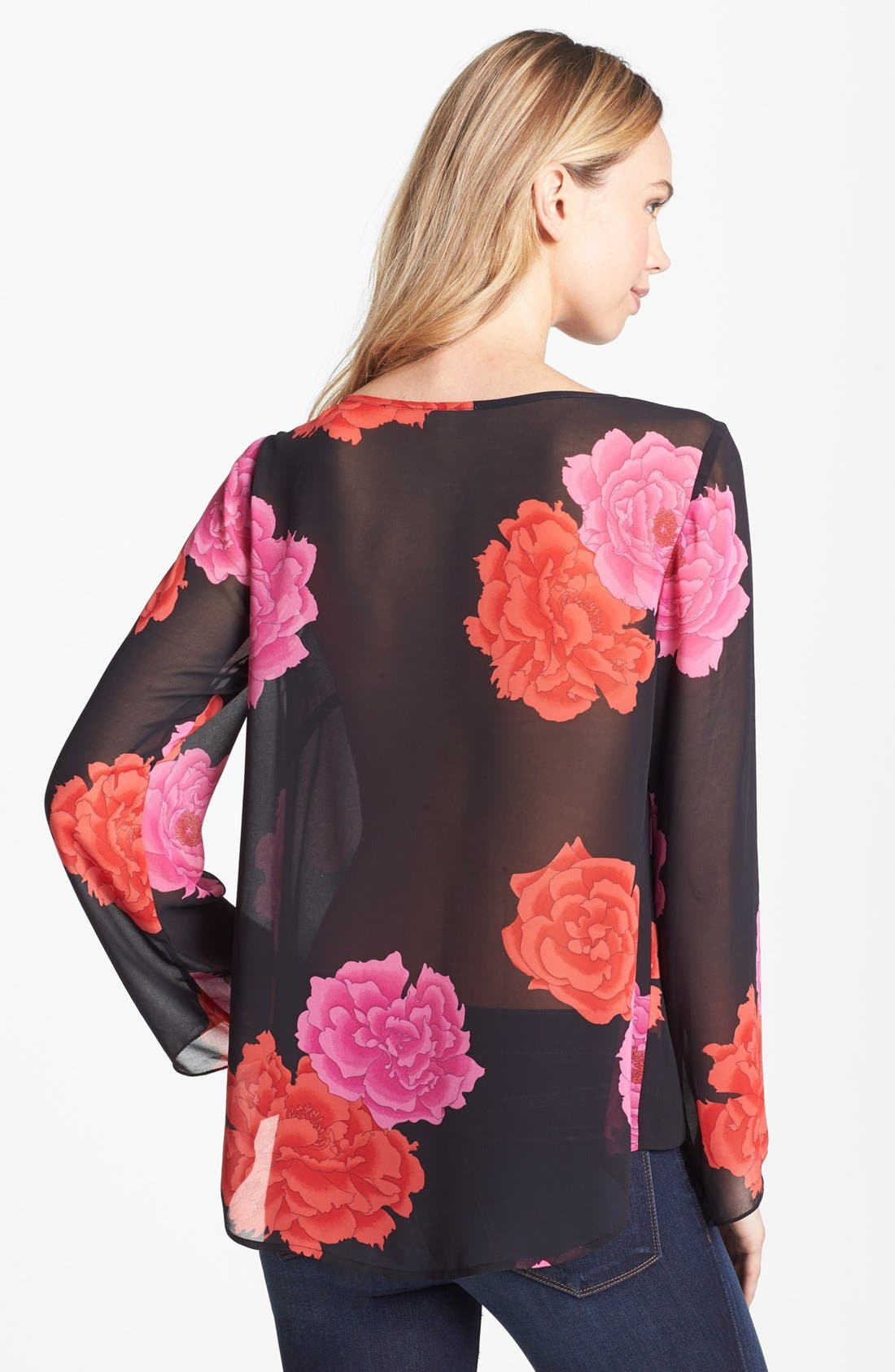 Alternate Image 2  - Vince Camuto 'Peonies' Fluted Sleeve Blouse