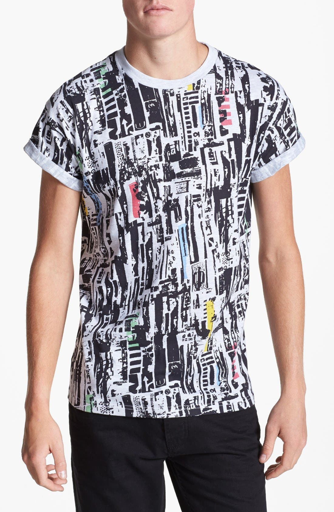 Alternate Image 1 Selected - Topman Scrappy Tile Print T-Shirt