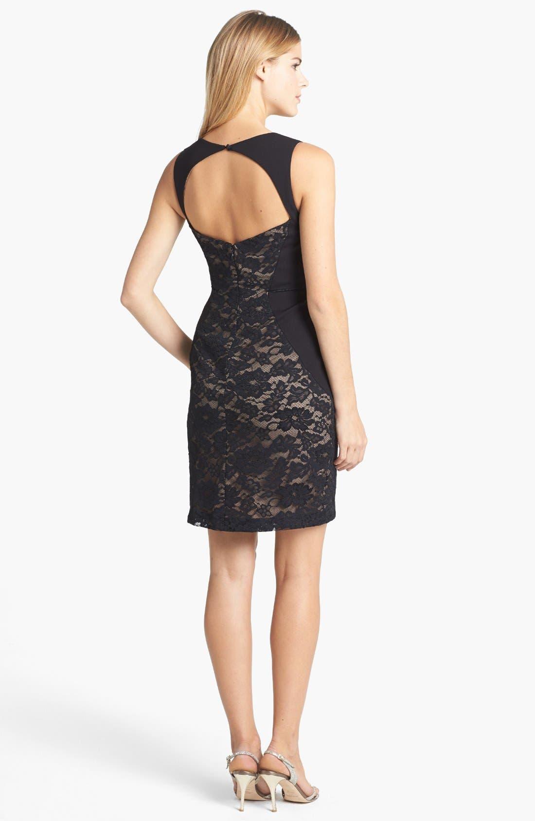Alternate Image 2  - Aidan Mattox Lace Paneled Body-Con Dress