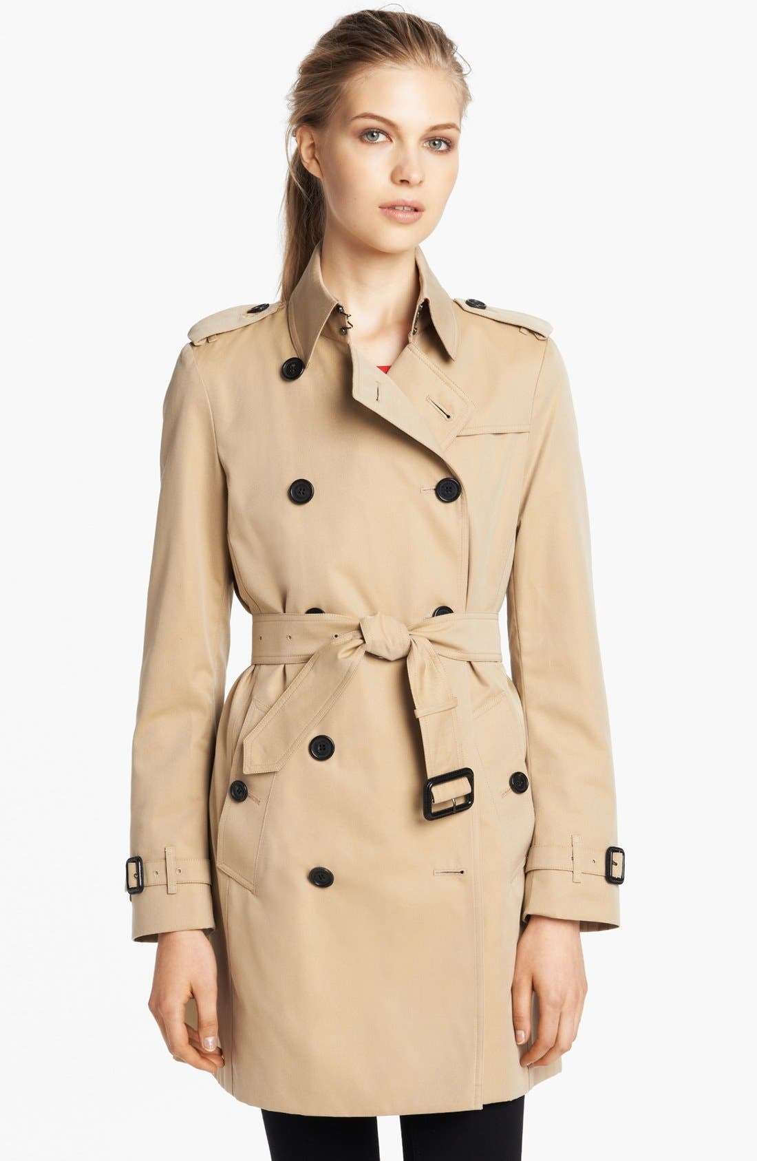 'Buckingham' Double Breasted Cotton Trench,                             Main thumbnail 1, color,                             Honey