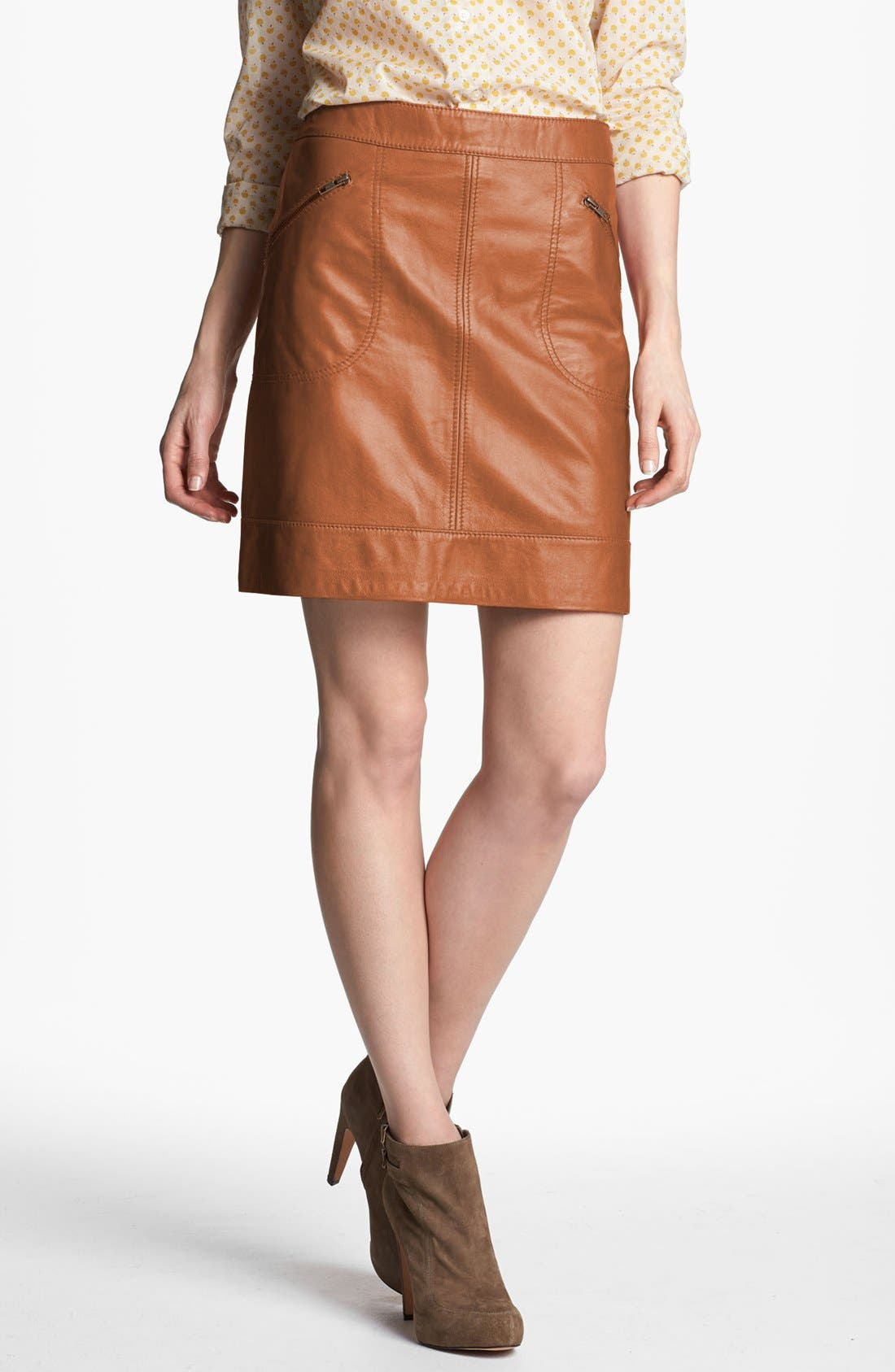 Alternate Image 1 Selected - Halogen® Zip Pocket Leather Skirt (Petite)