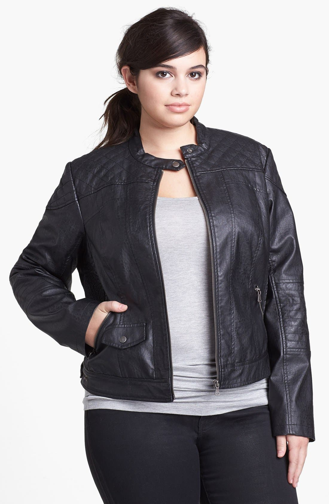 Alternate Image 1 Selected - Bernardo Faux Leather Scuba Jacket (Plus Size)