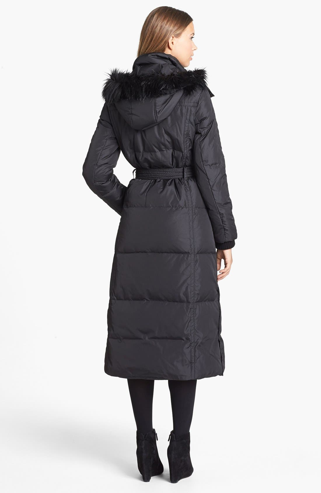 Alternate Image 2  - DKNY Faux Fur Trim Belted Down & Feather Coat