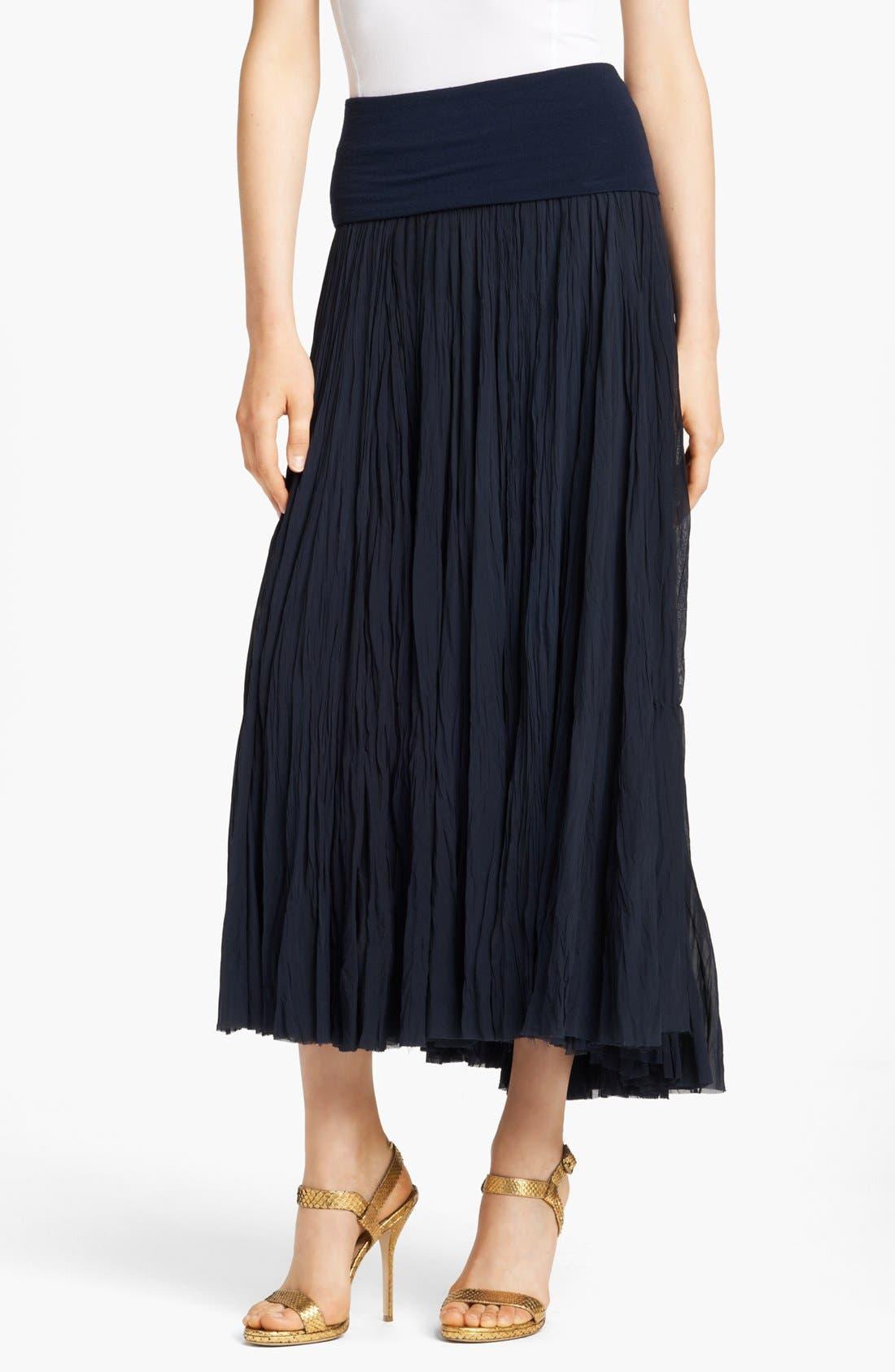 Main Image - Donna Karan Casual Luxe Silk Georgette Midi Skirt