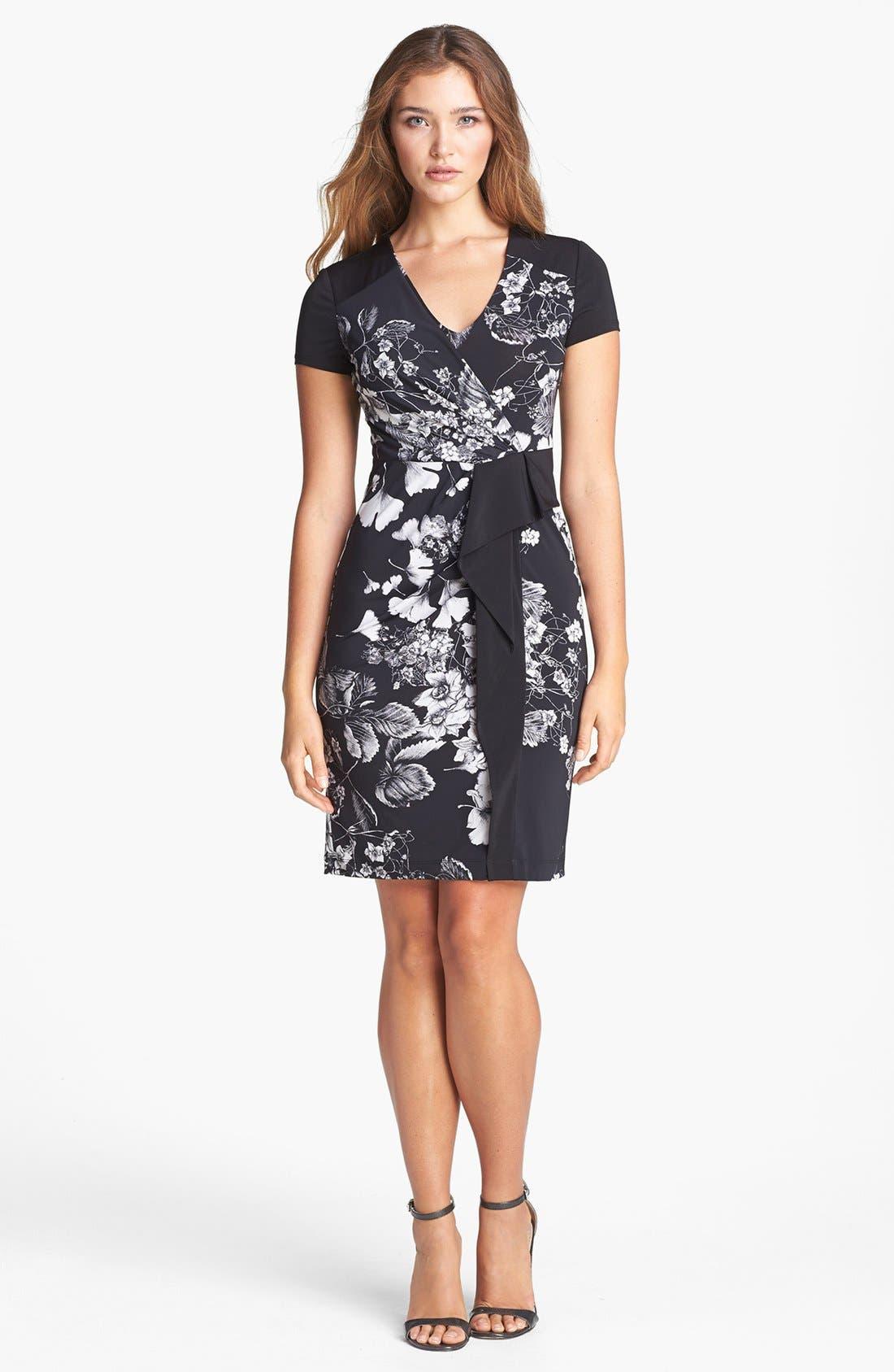 Main Image - BCBGMAXAZRIA Print Side Drape Jersey Sheath Dress