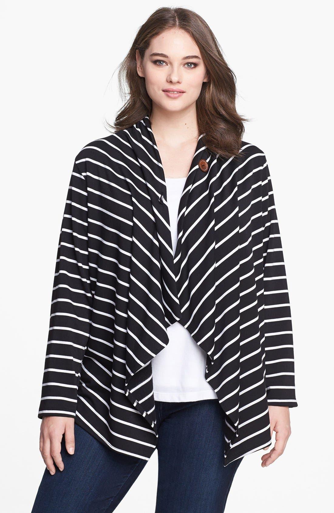 Main Image - Bobeau Stripe Fleece Wrap (Plus Size)