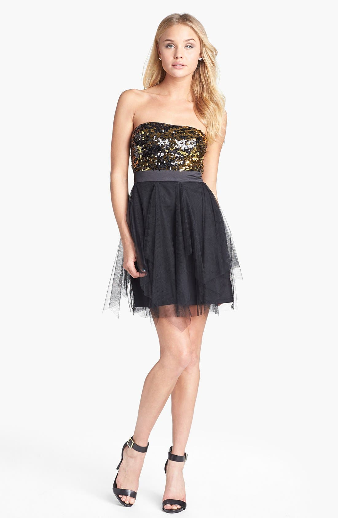 Alternate Image 1 Selected - Hailey Logan Strapless Sequin & Tulle Dress (Juniors) (Online Exclusive)