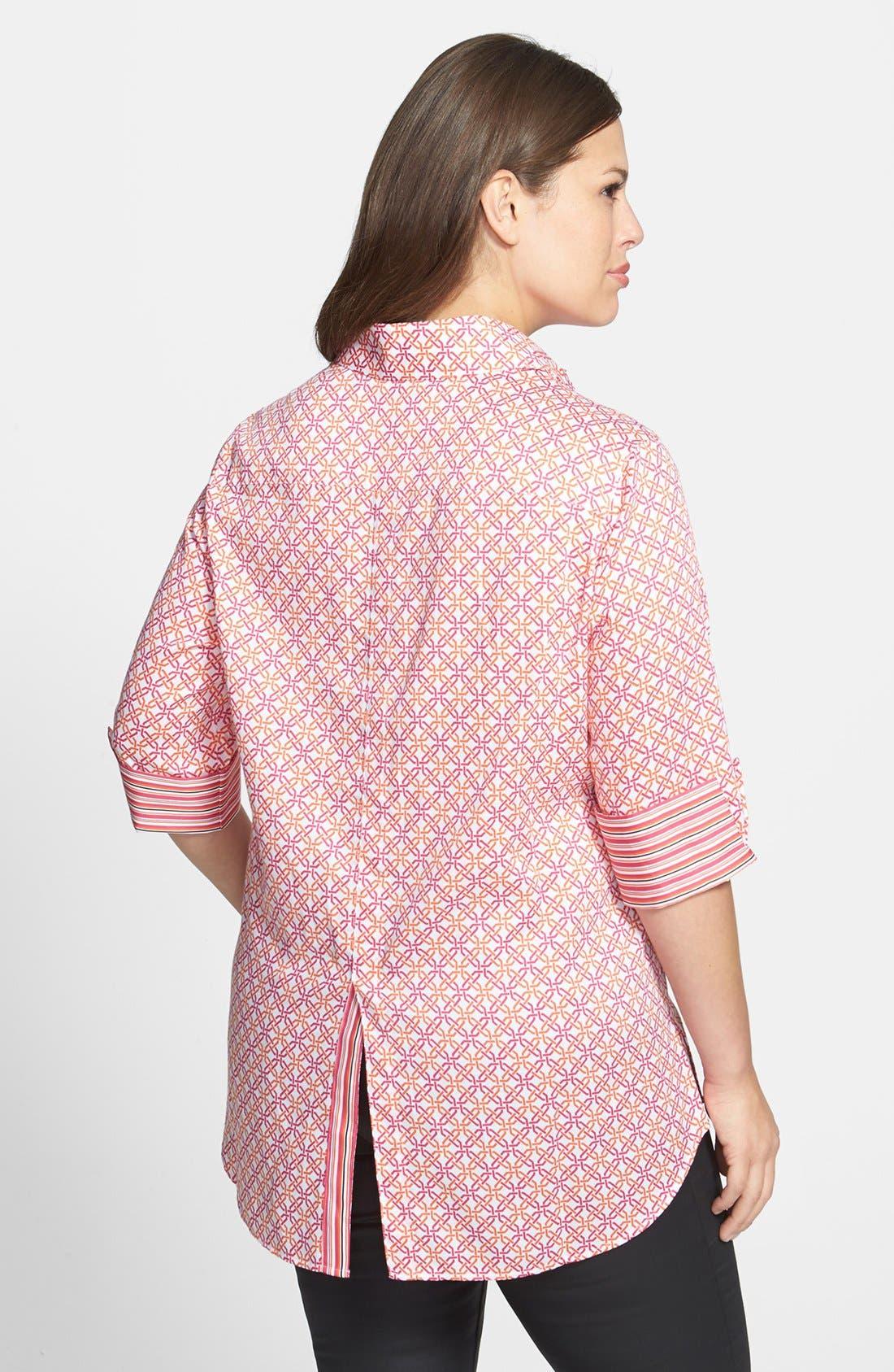 Alternate Image 2  - Foxcroft Lattice Print Shirt (Plus Size)