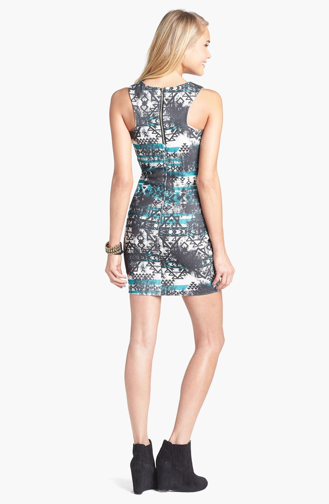 Alternate Image 2  - Trixxi Print Racerback Body-Con Dress (Juniors)