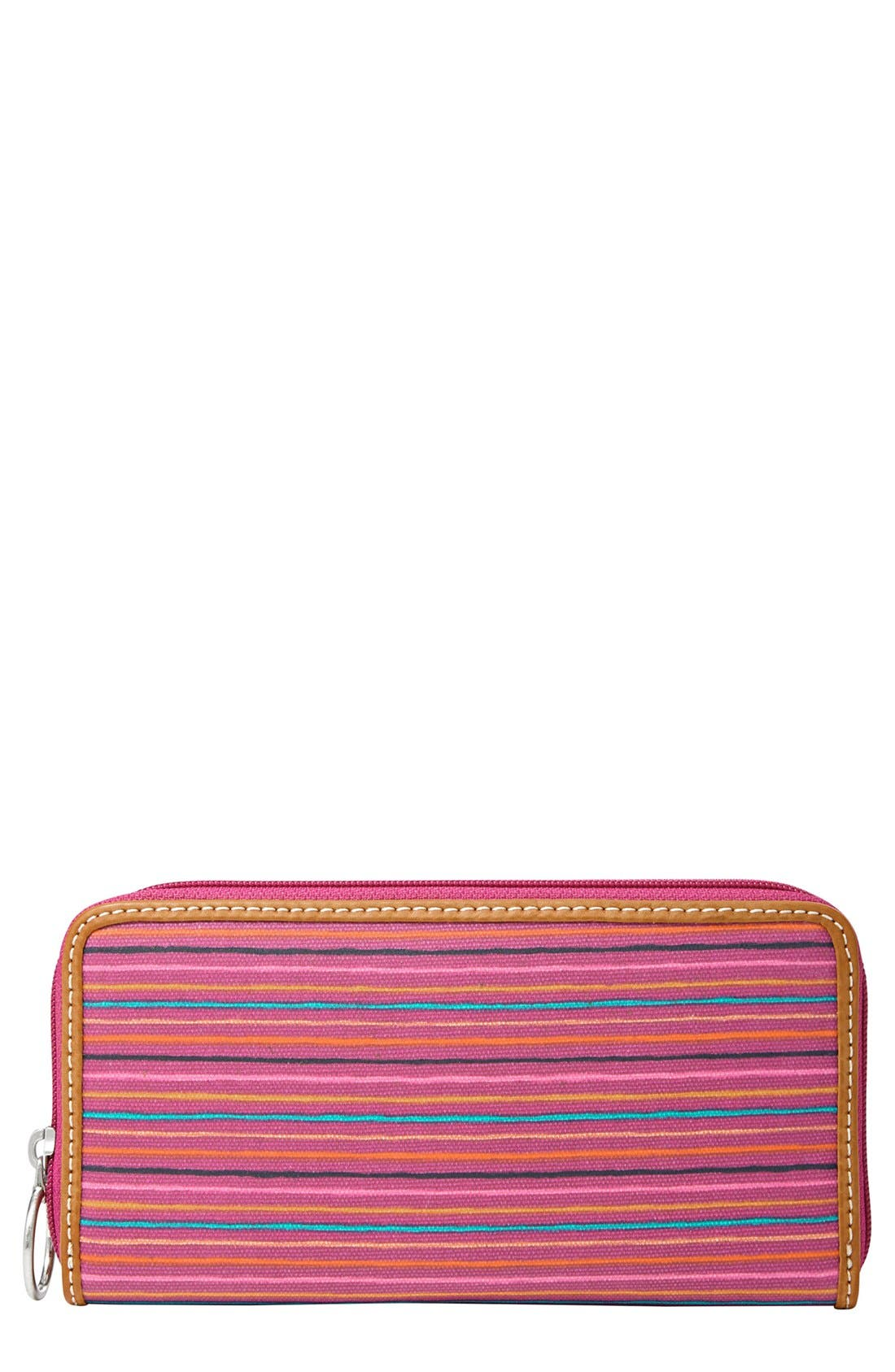 Main Image - Fossil 'Key-Per' Coated Canvas Clutch Wallet