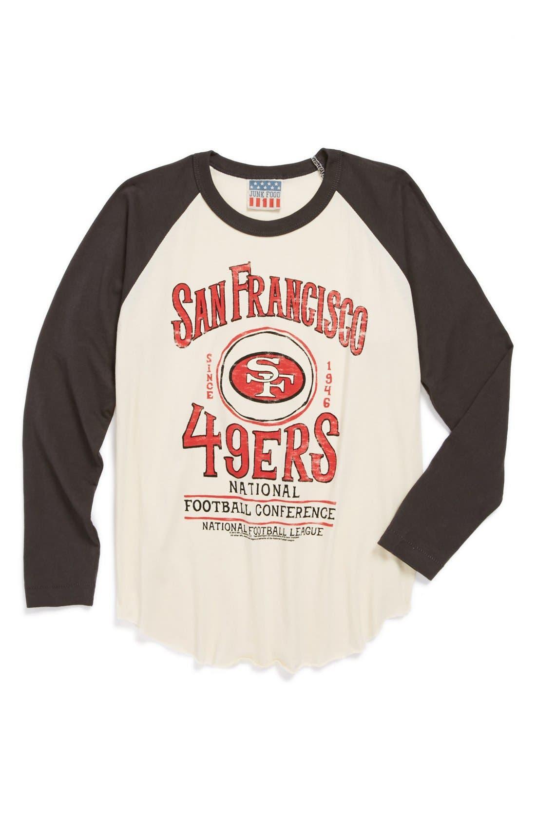 Alternate Image 1 Selected - Junk Food 'San Francisco 49ers' Raglan Long Sleeve T-Shirt (Little Boys & Big Boys)