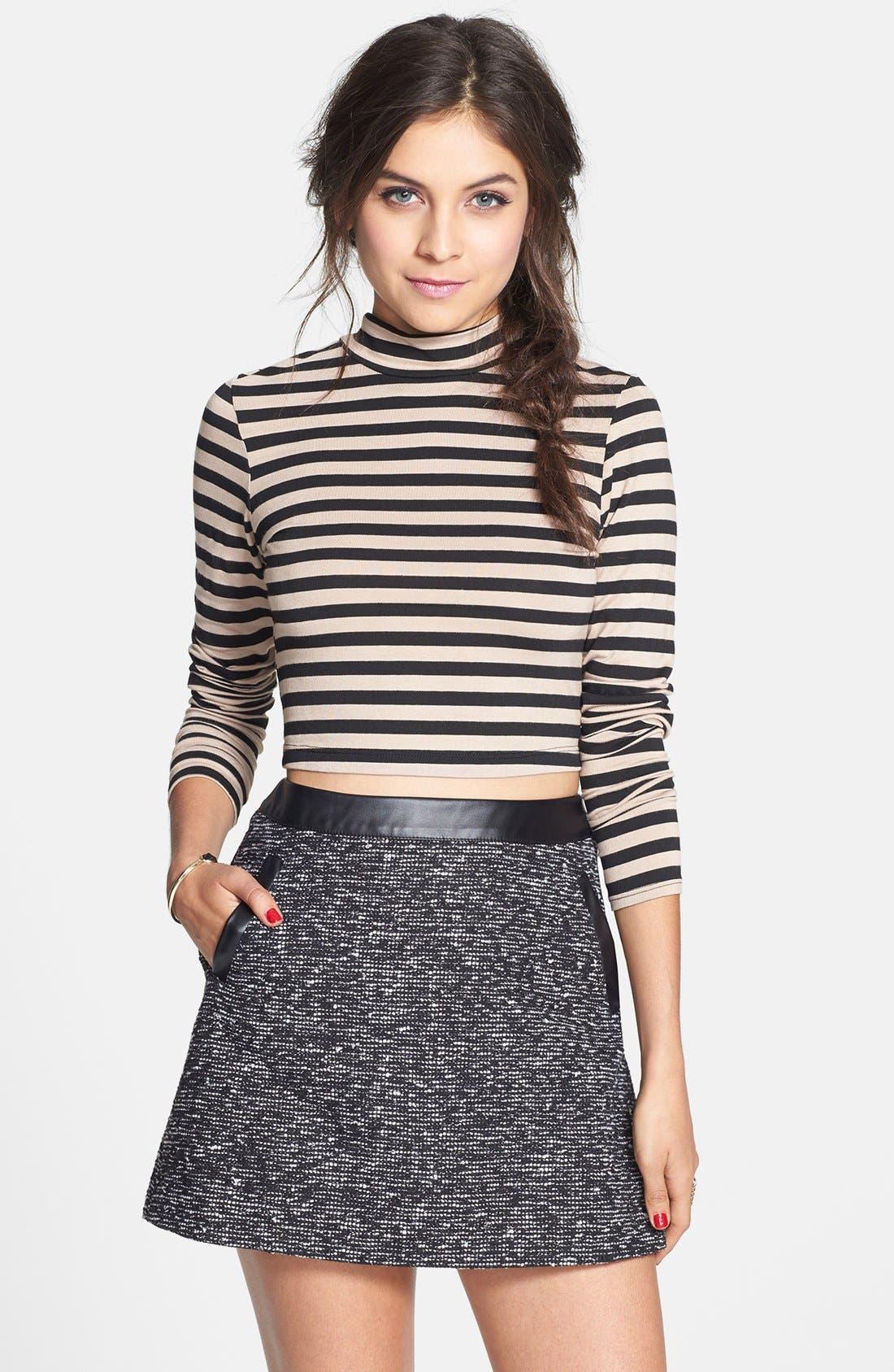 Main Image - Frenchi® Faux Leather Trim Miniskirt (Juniors)