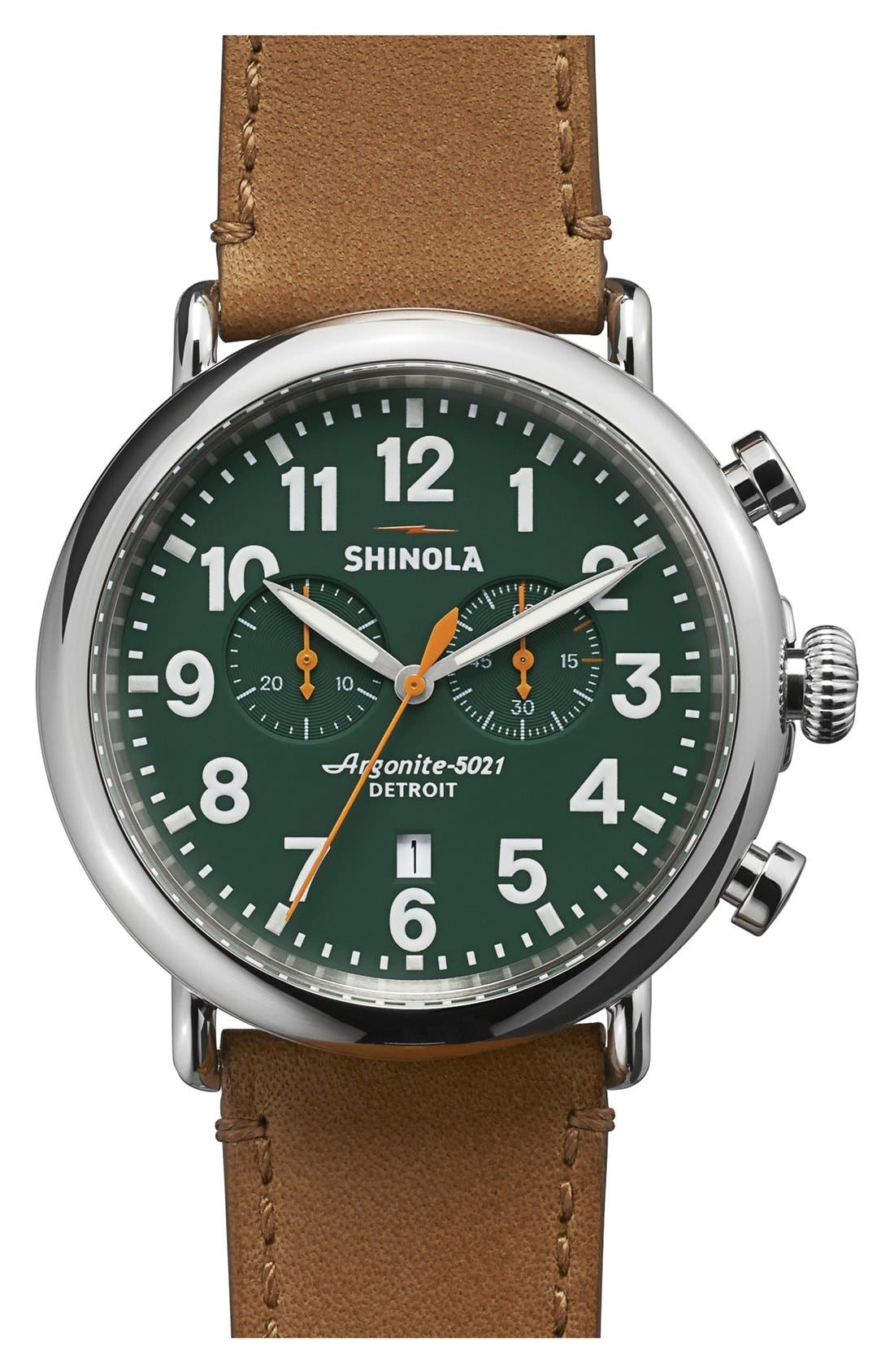 The Runwell Chrono Leather Strap Watch, 47mm,                         Main,                         color, Brown/ Green