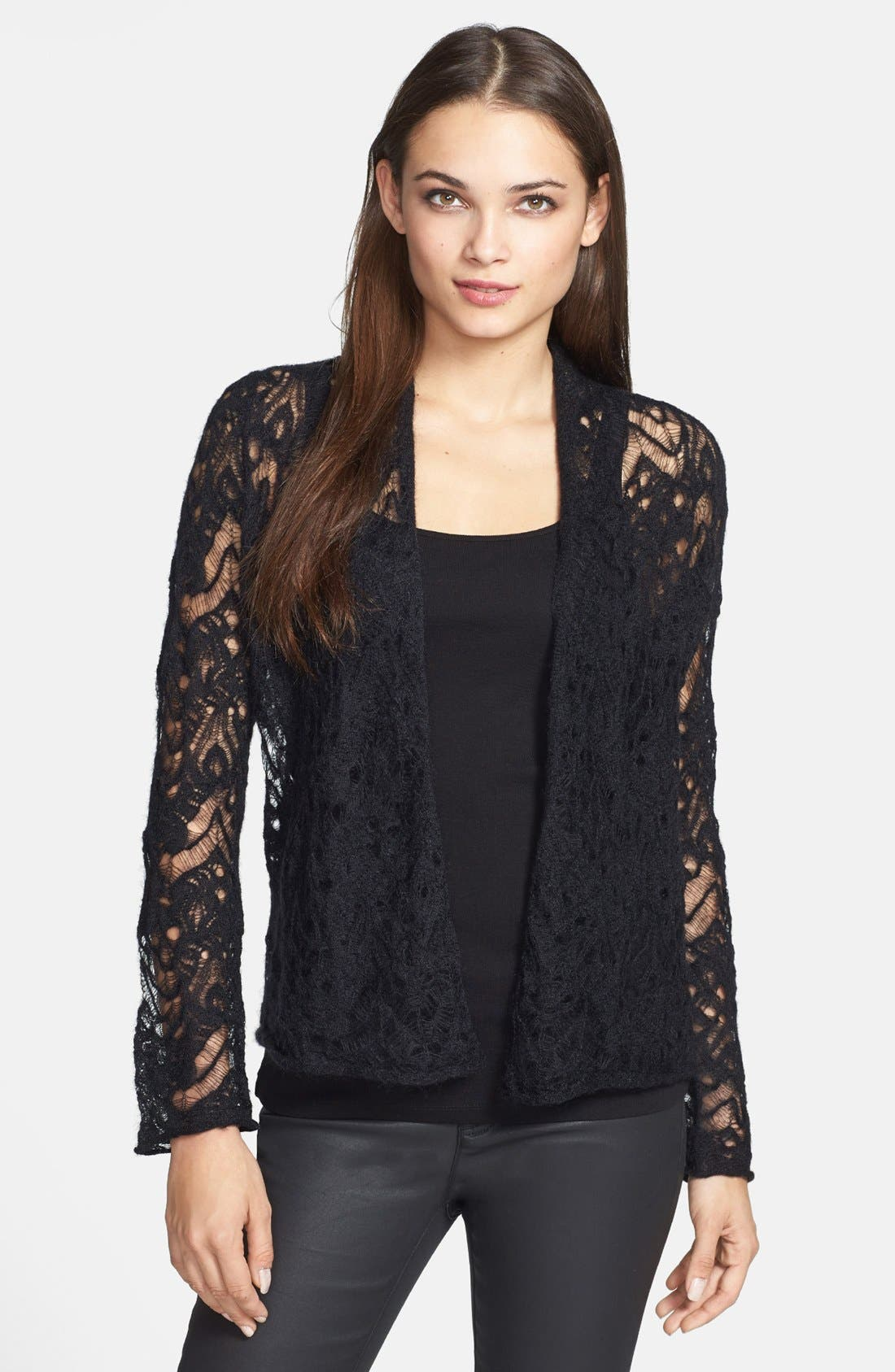 Main Image - Eileen Fisher Lace Crochet Cardigan