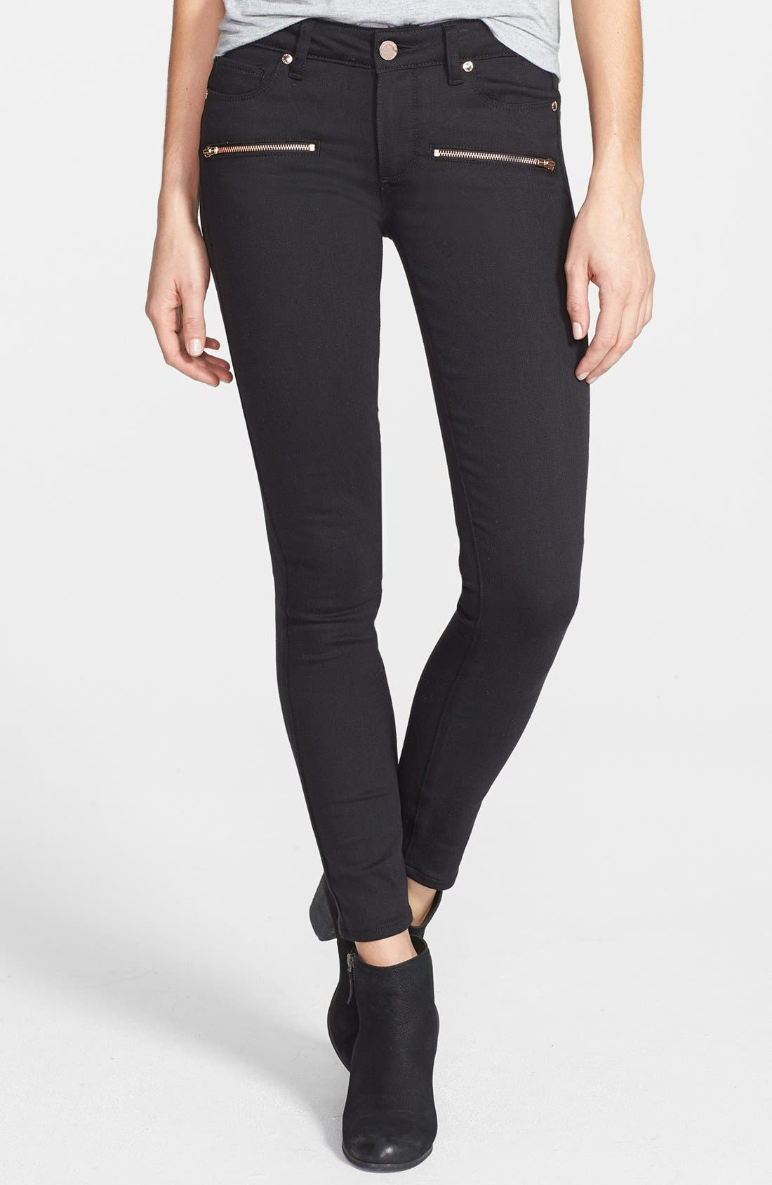 Alternate Image 1 Selected - Paige Denim 'Indio' Zip Detail Ultra Skinny Jeans (Steel Grey)