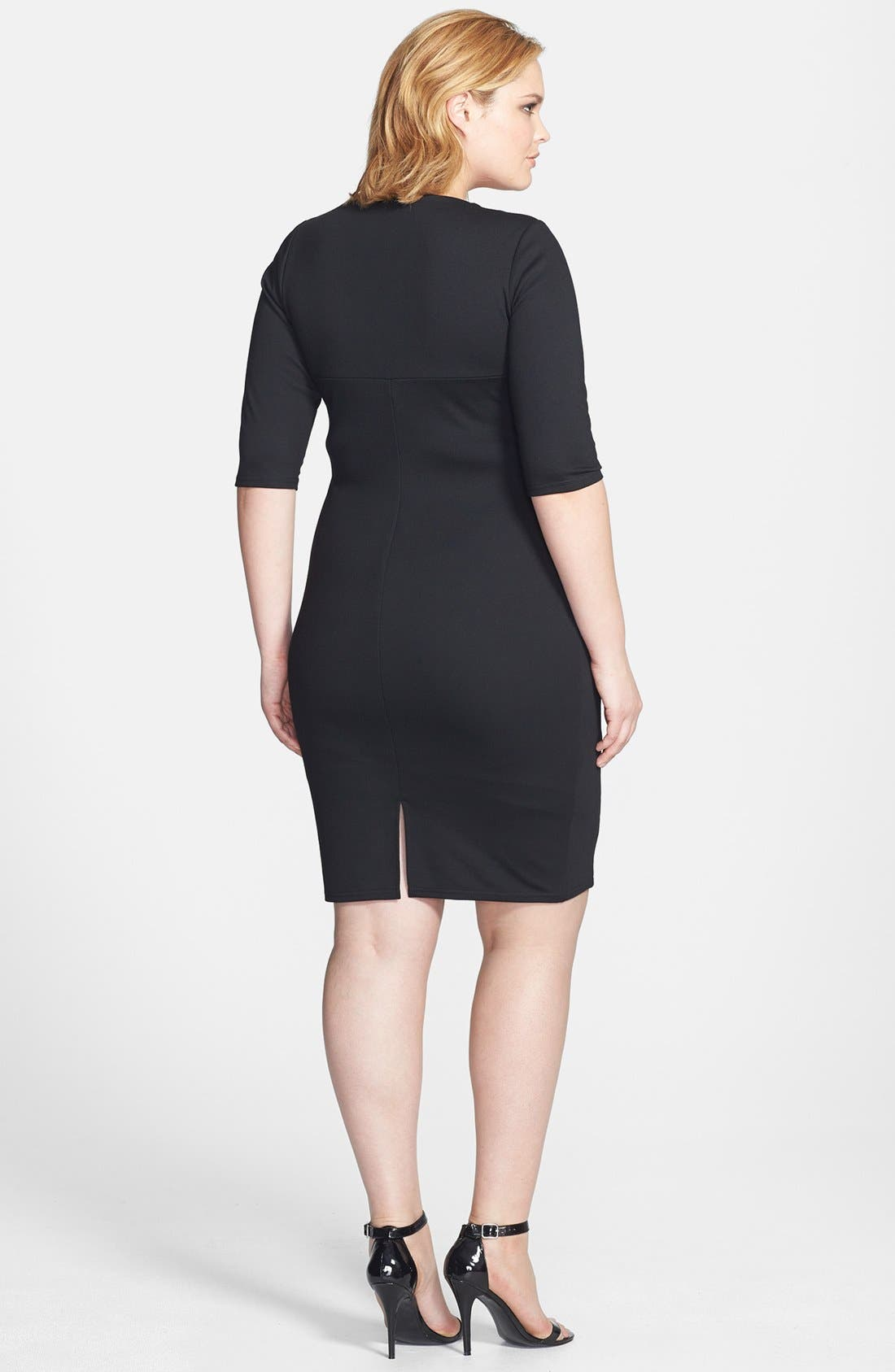 Alternate Image 2  - Scarlett & Jo Animal Print Colorblock Sheath Dress (Plus Size)