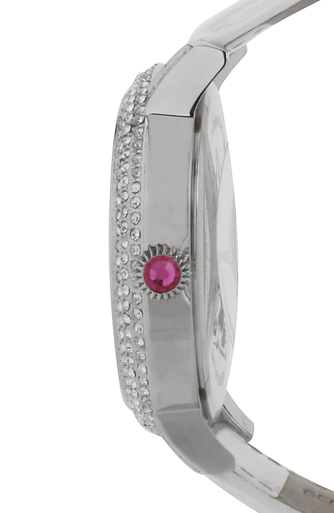 Alternate Image 3  - Betsey Johnson Heart Dial Crystal Bezel Watch, 46mm