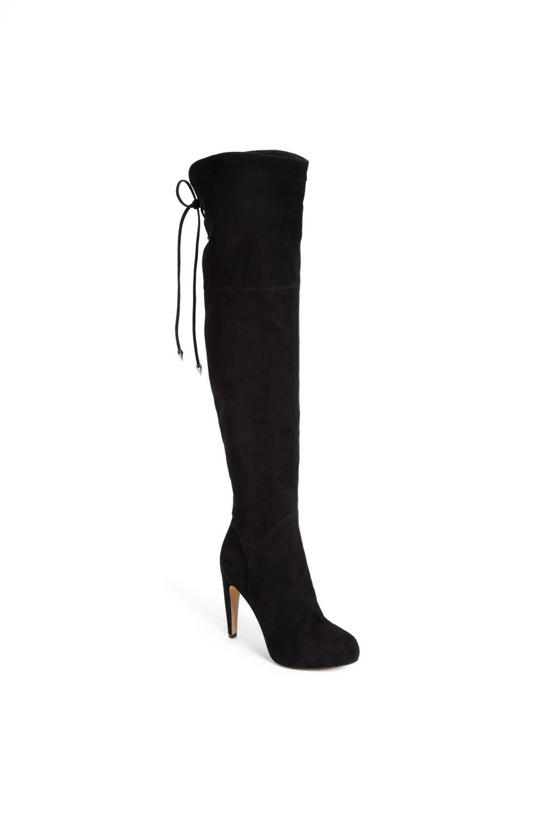 'Kayla' Over the Knee Boot,                             Main thumbnail 1, color,                             Black Suede