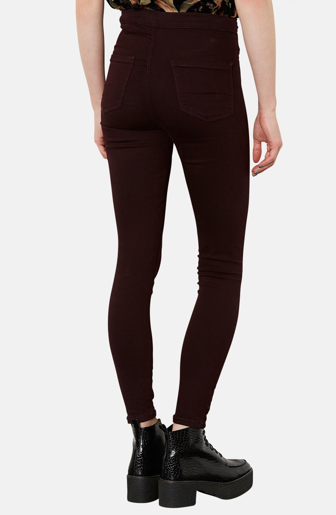 Alternate Image 2  - Topshop Moto 'Joni' High Rise Skinny Jeans (Burgundy)