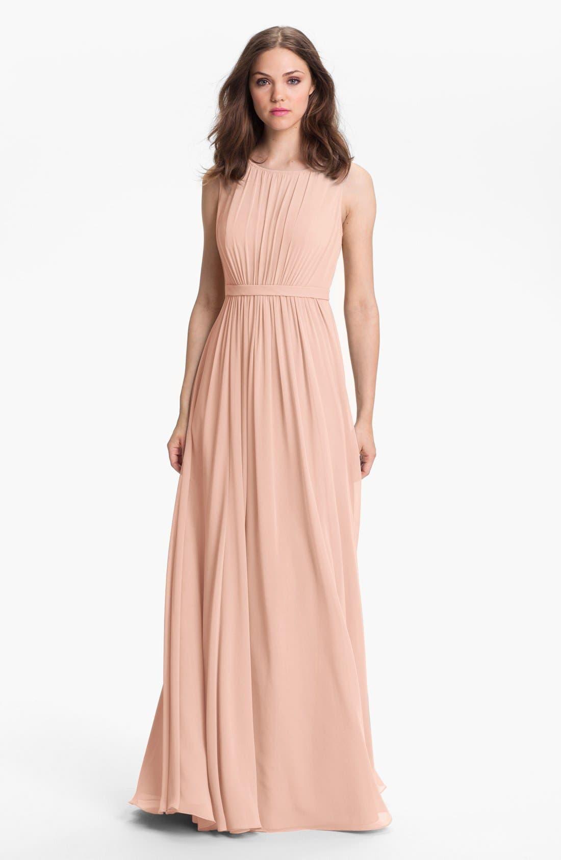 Vivienne Pleated Chiffon Gown,                         Main,                         color, Blush