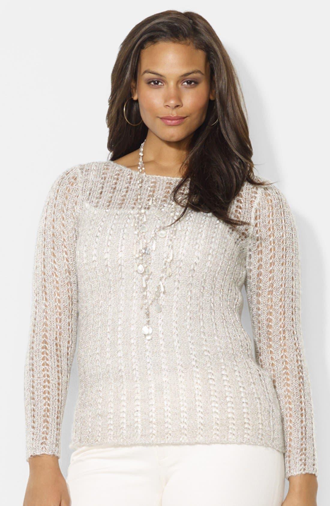 Alternate Image 1 Selected - Lauren Ralph Lauren Metallic Pointelle Knit Sweater (Plus Size)
