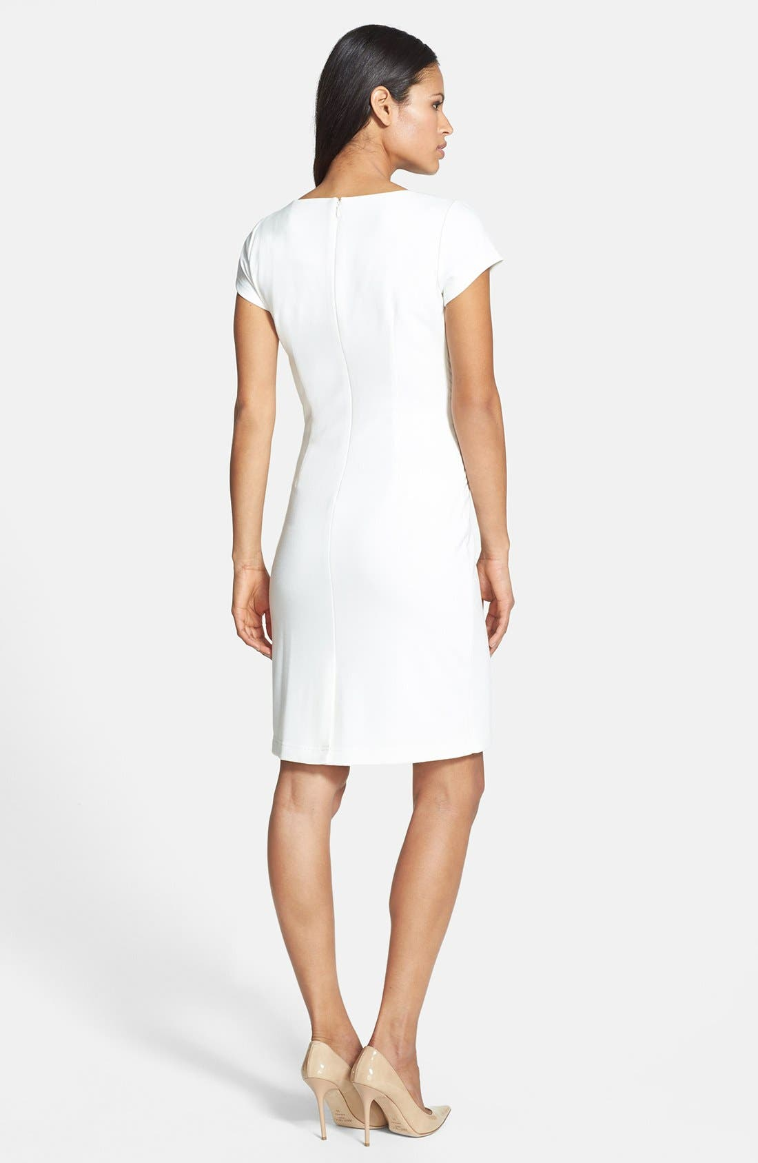 Alternate Image 3  - Ellen Tracy Pleated Waist Ponte Sheath Dress