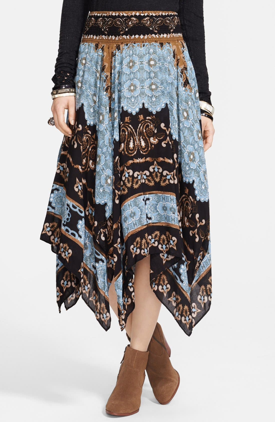 Alternate Image 1 Selected - Free People 'Fly Away' Print Handkerchief Skirt