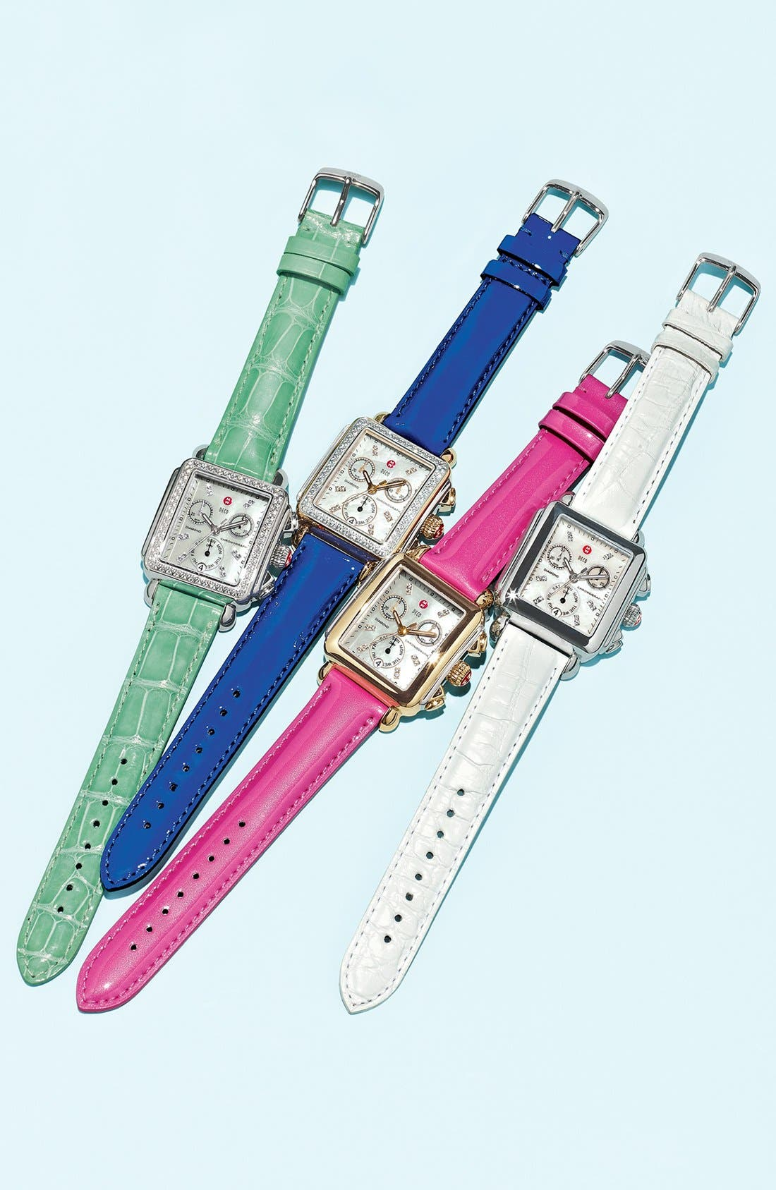 Alternate Image 3  - MICHELE 'Deco Diamond' Ceramic & Steel Watch Case & 18mm Alligator Strap