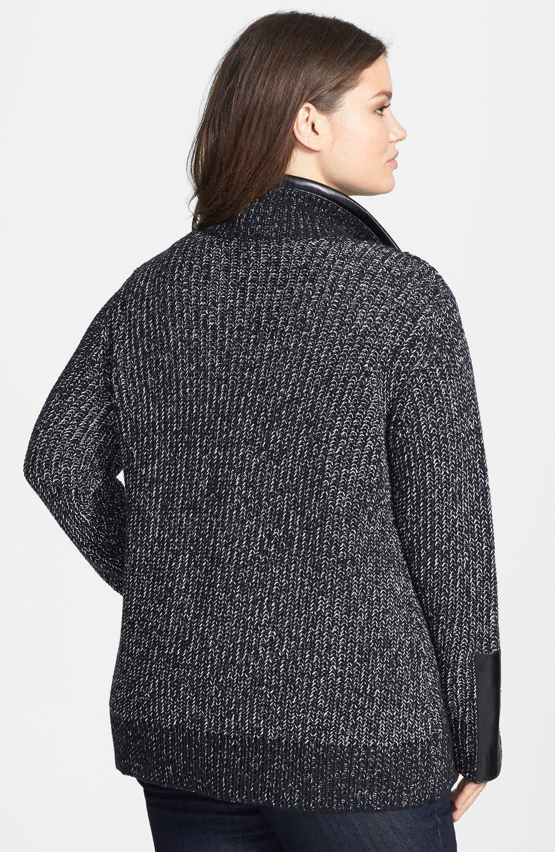 Alternate Image 2  - Sejour Faux Leather Trim Open Front Knit Jacket (Plus Size)