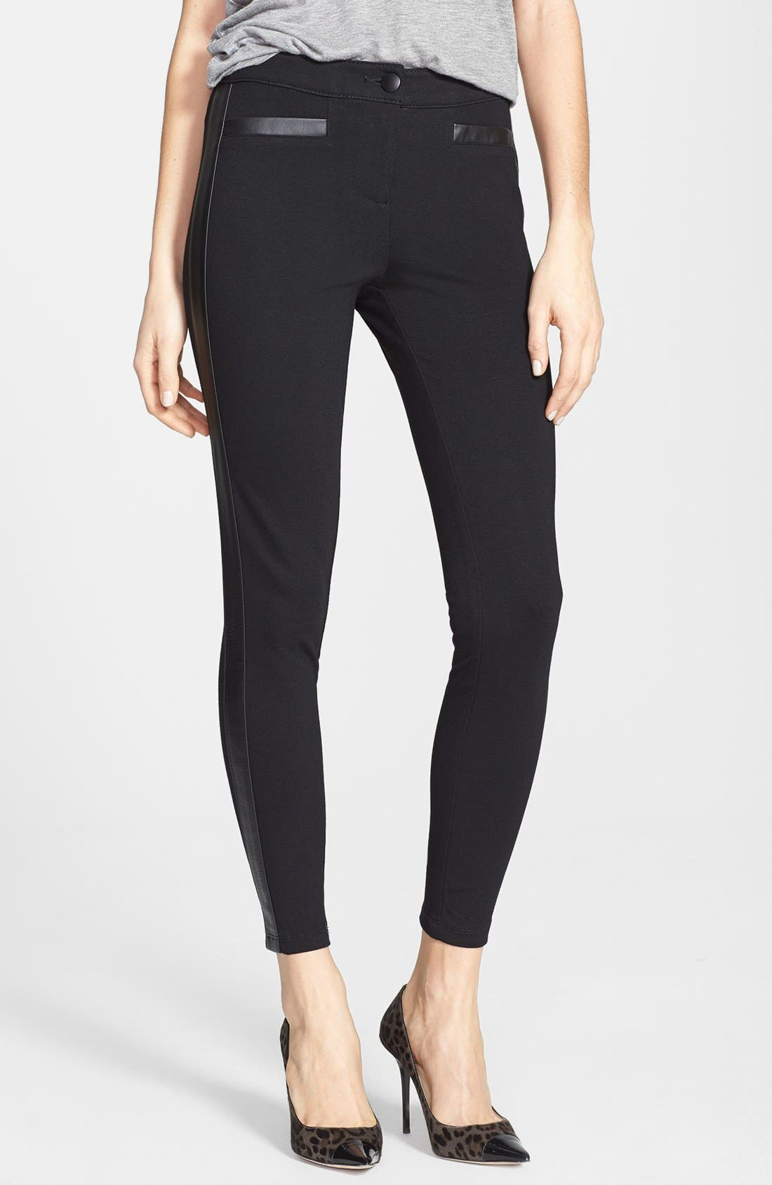 Faux Leather Trim Ponte Pants,                         Main,                         color, Black