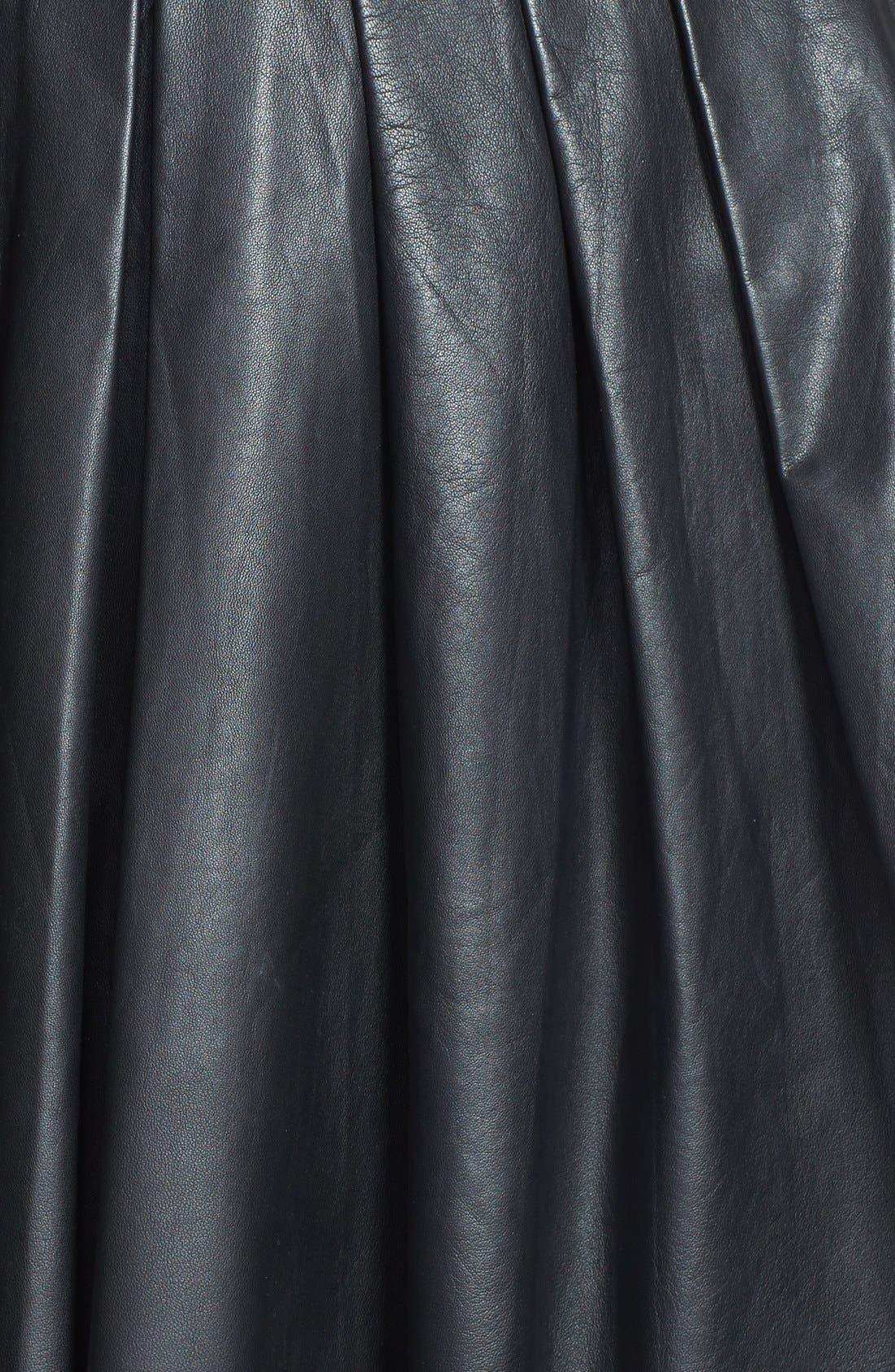 Alternate Image 3  - Nicole Miller Leather Pleat Flared Skirt