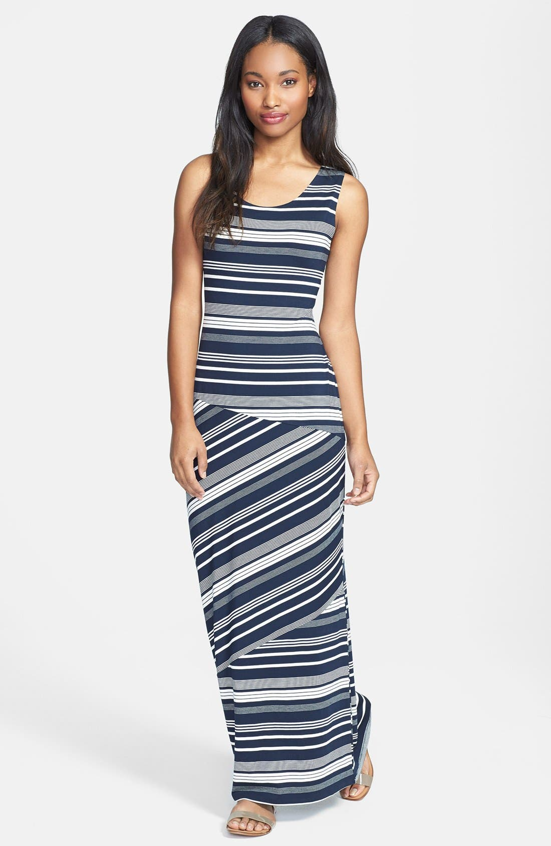 Alternate Image 1 Selected - Olive & Oak Banded Stripe Racerback Maxi Dress
