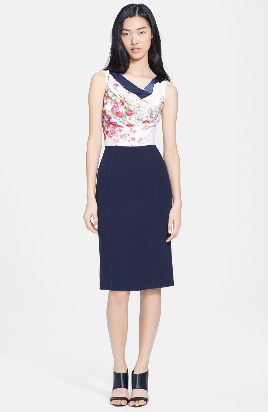 Alternate Image 1 Selected - Nina Ricci Print Bodice Twill Dress