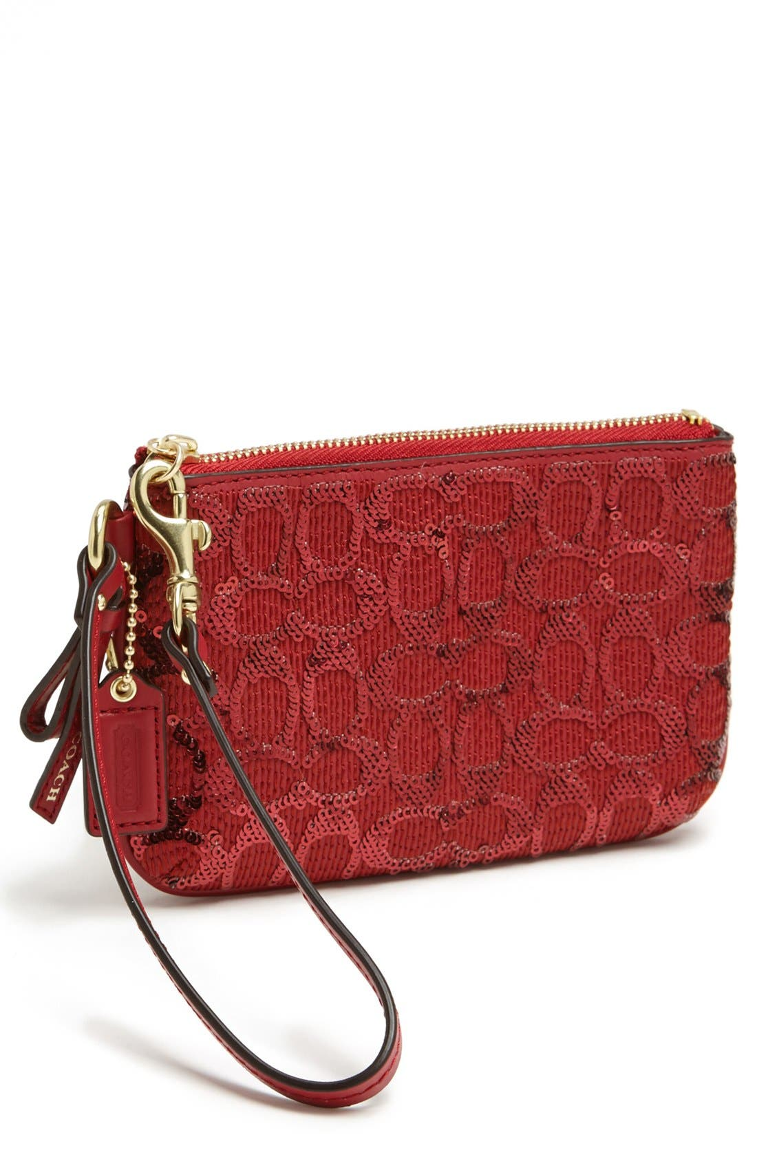 Main Image - COACH 'Signature' Sequin Wristlet