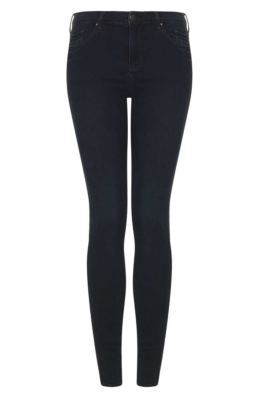 Alternate Image 3  - Topshop Moto 'Leigh' Skinny Jeans (Indigo) (Regular & Short)