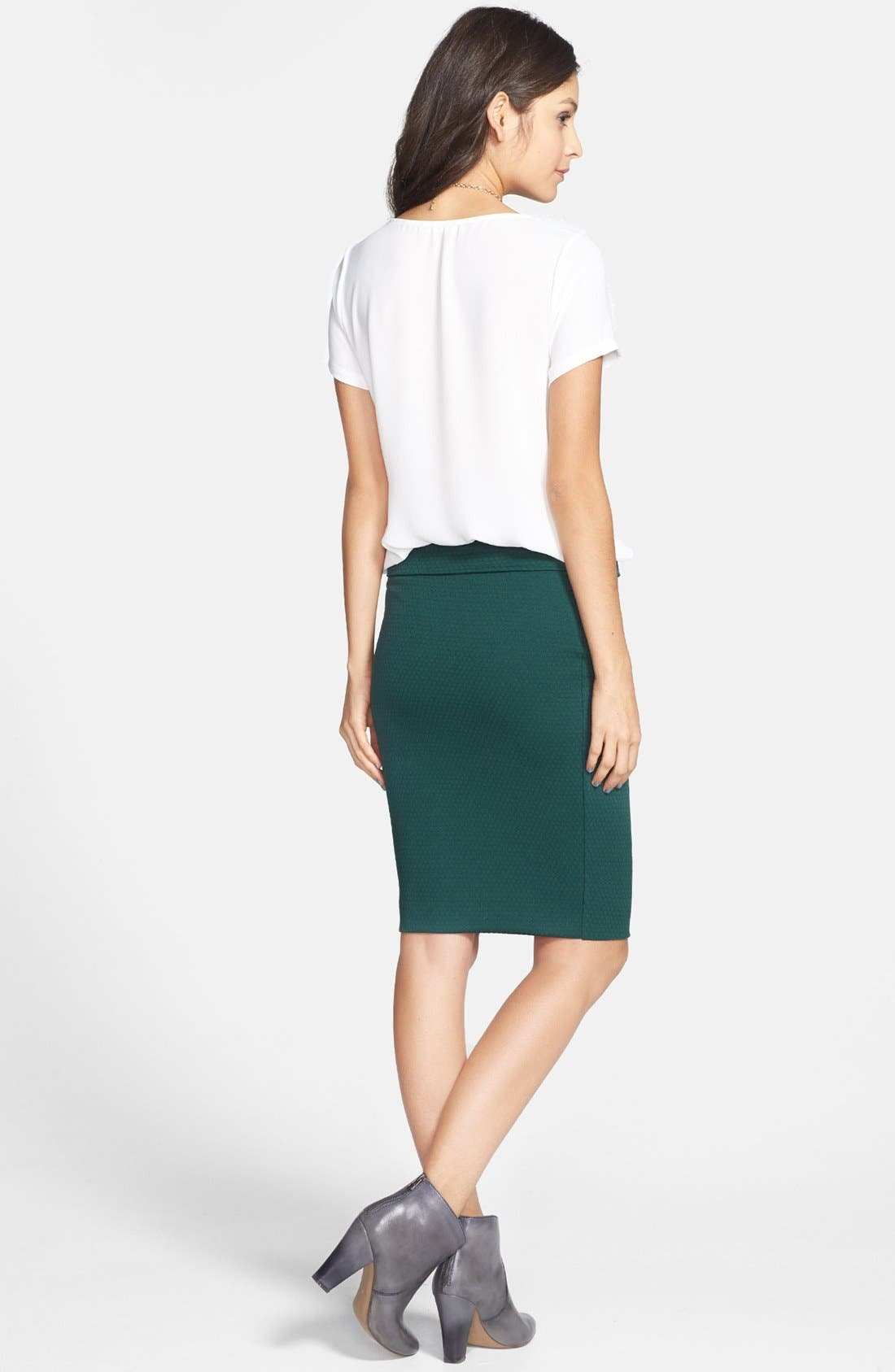 Alternate Image 2  - Lily White Midi Pencil Skirt (Juniors) (Online Only)