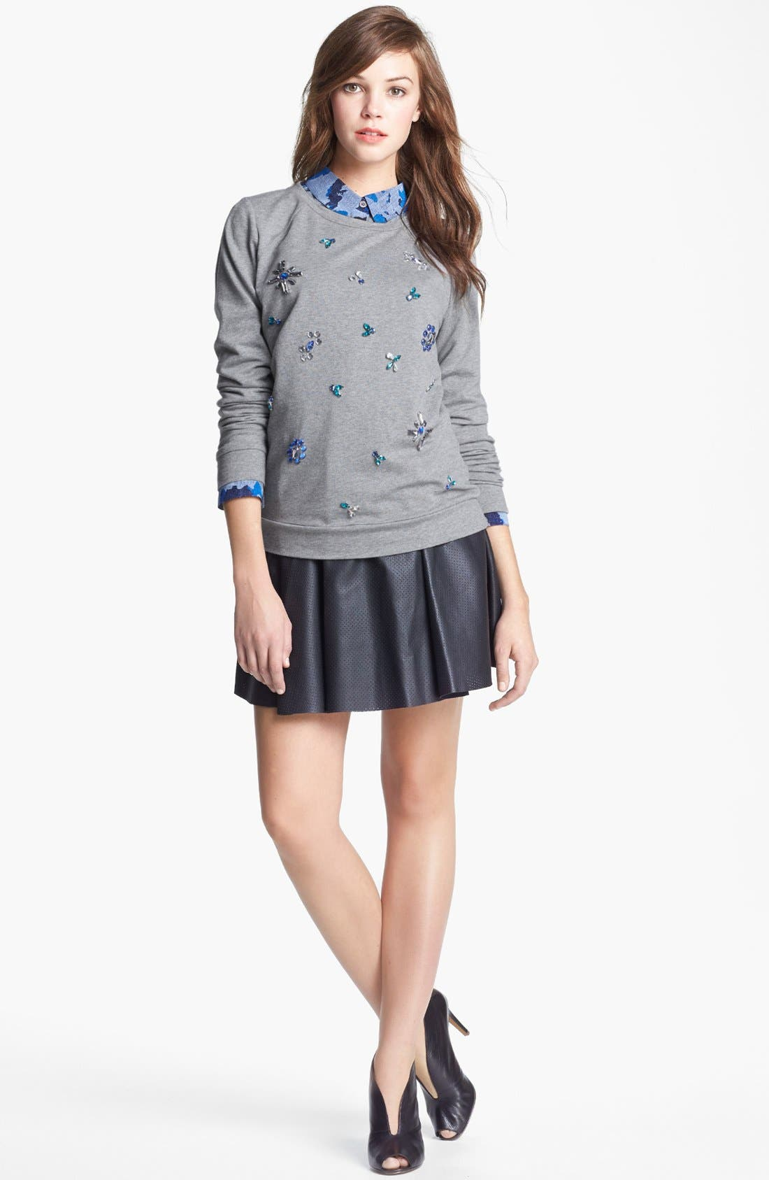Alternate Image 4  - Two by Vince Camuto Jeweled Baseball Sweatshirt