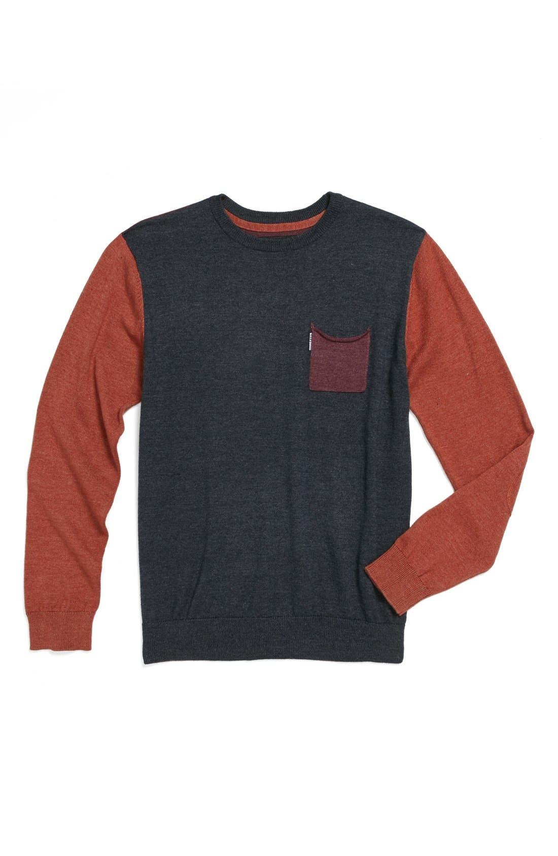 Alternate Image 1 Selected - Billabong 'Distress' Colorblock Crewneck Sweater (Big Boys)