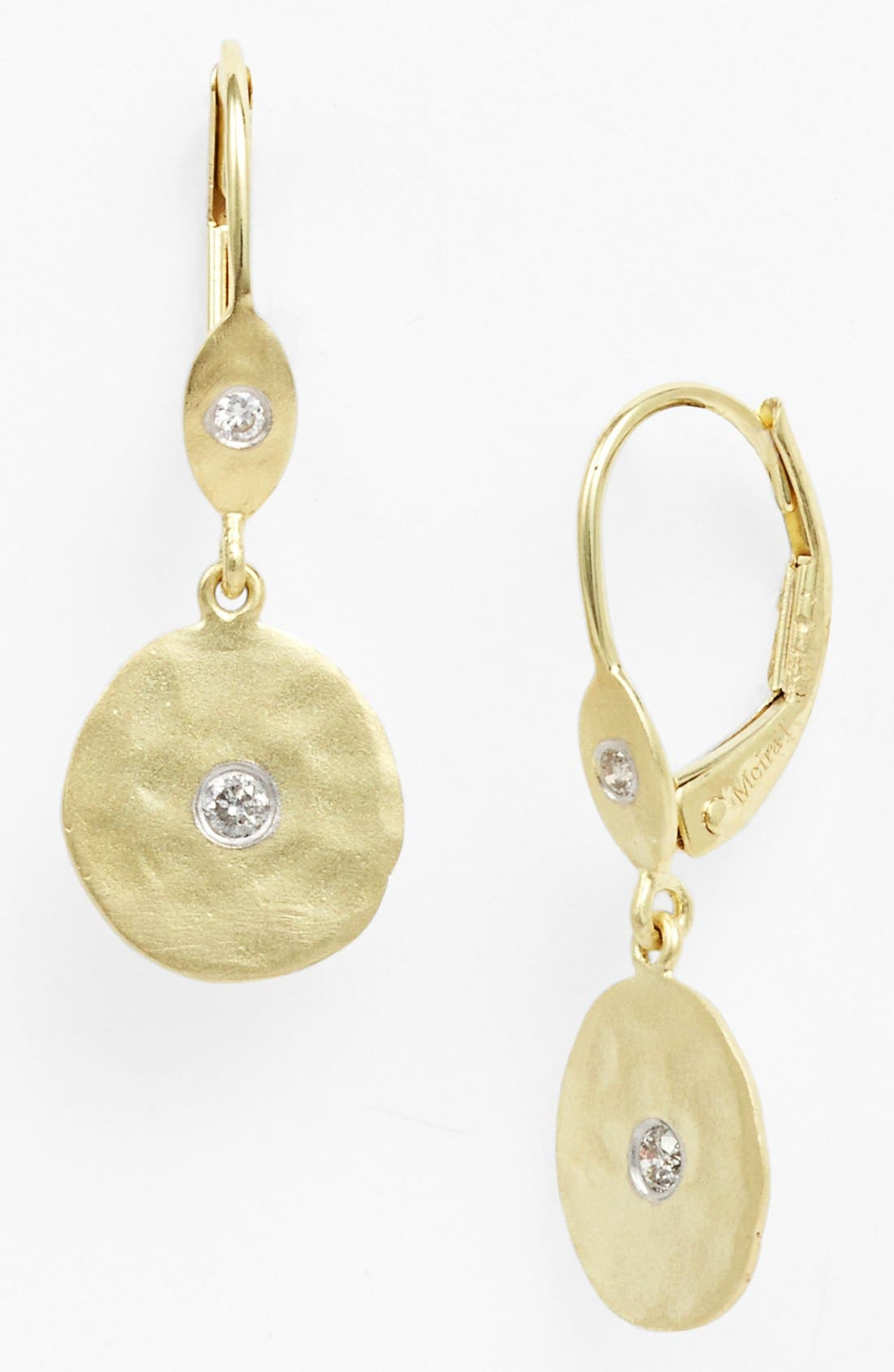 Meira T Charmed Diamond Hammered Drop Earrings
