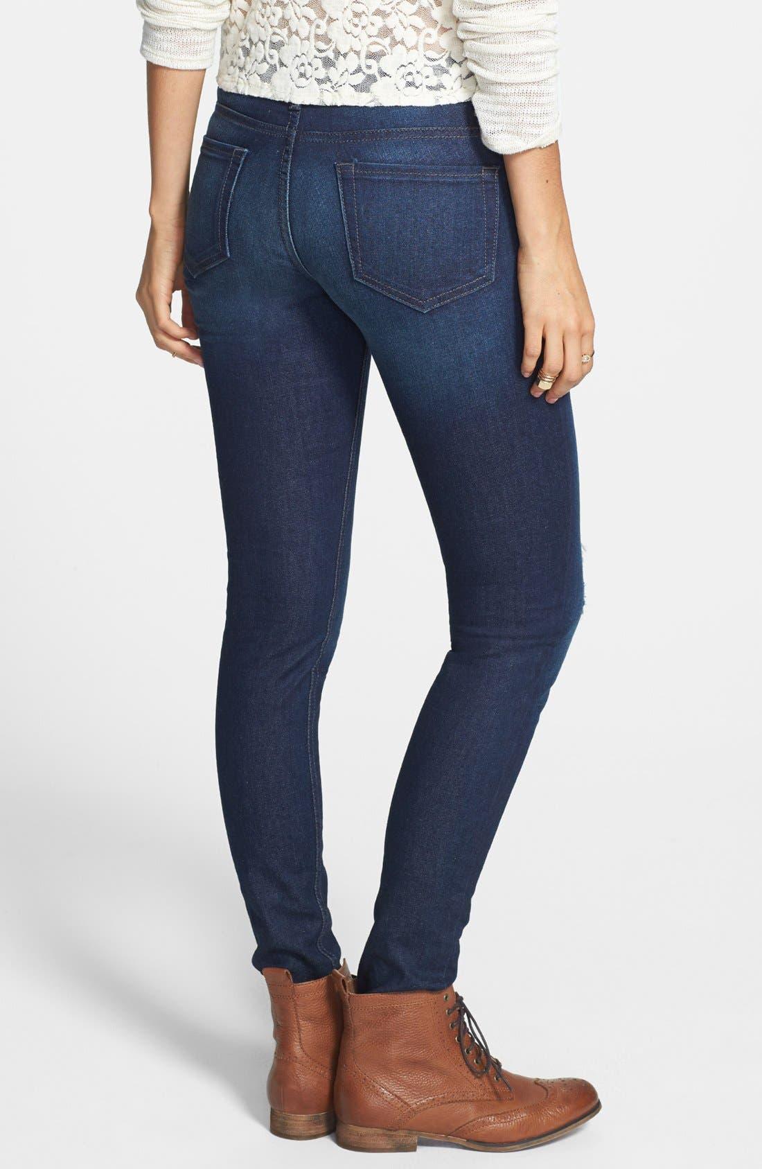 Alternate Image 2  - STS Blue Destroyed Skinny Jeans (Dark) (Juniors)