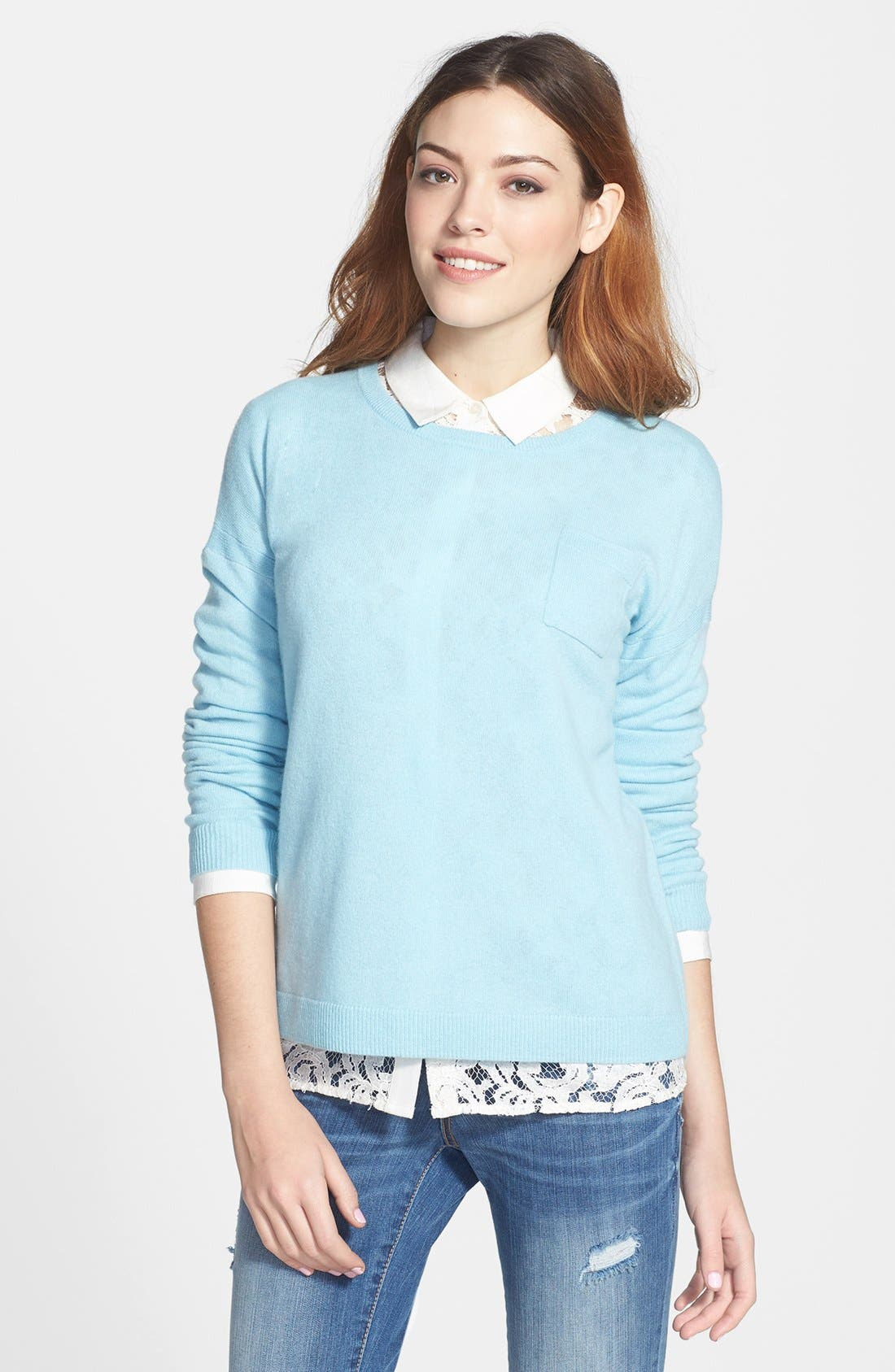 Alternate Image 1 Selected - Halogen® Lightweight Cashmere Crewneck Sweater with Pocket