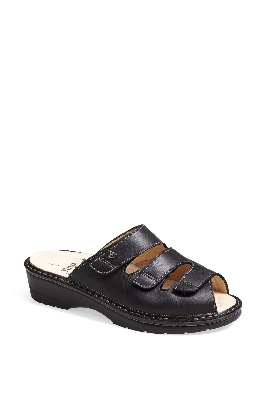 'Tilburg' Leather Sandal,                             Main thumbnail 1, color,                             Black