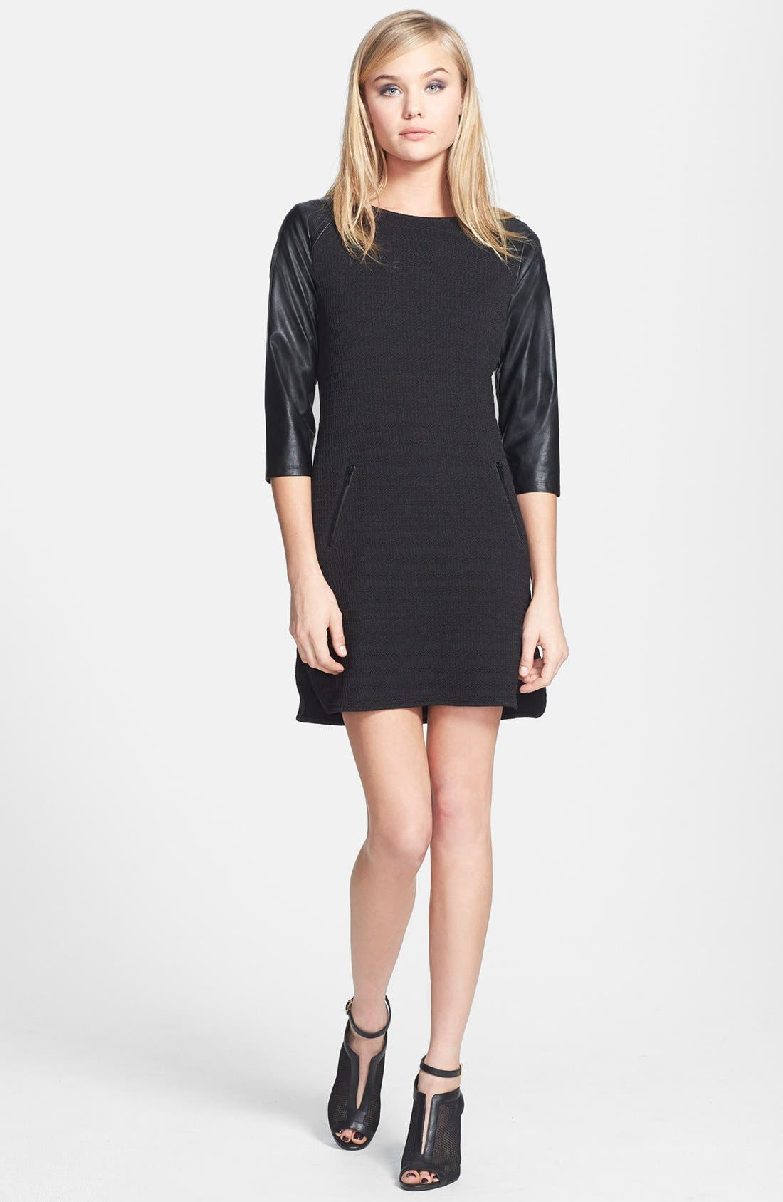Main Image - Sanctuary Faux Leather Sleeve Shift Dress