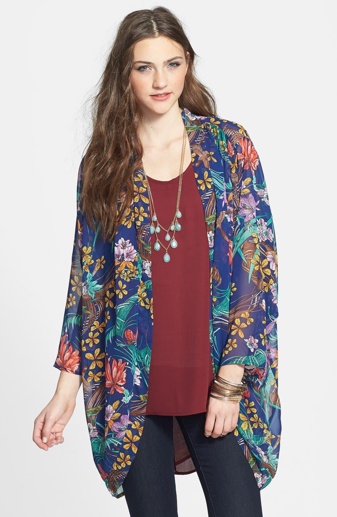 Main Image - Hot & Delicious Floral Chiffon Kimono Jacket (Juniors)
