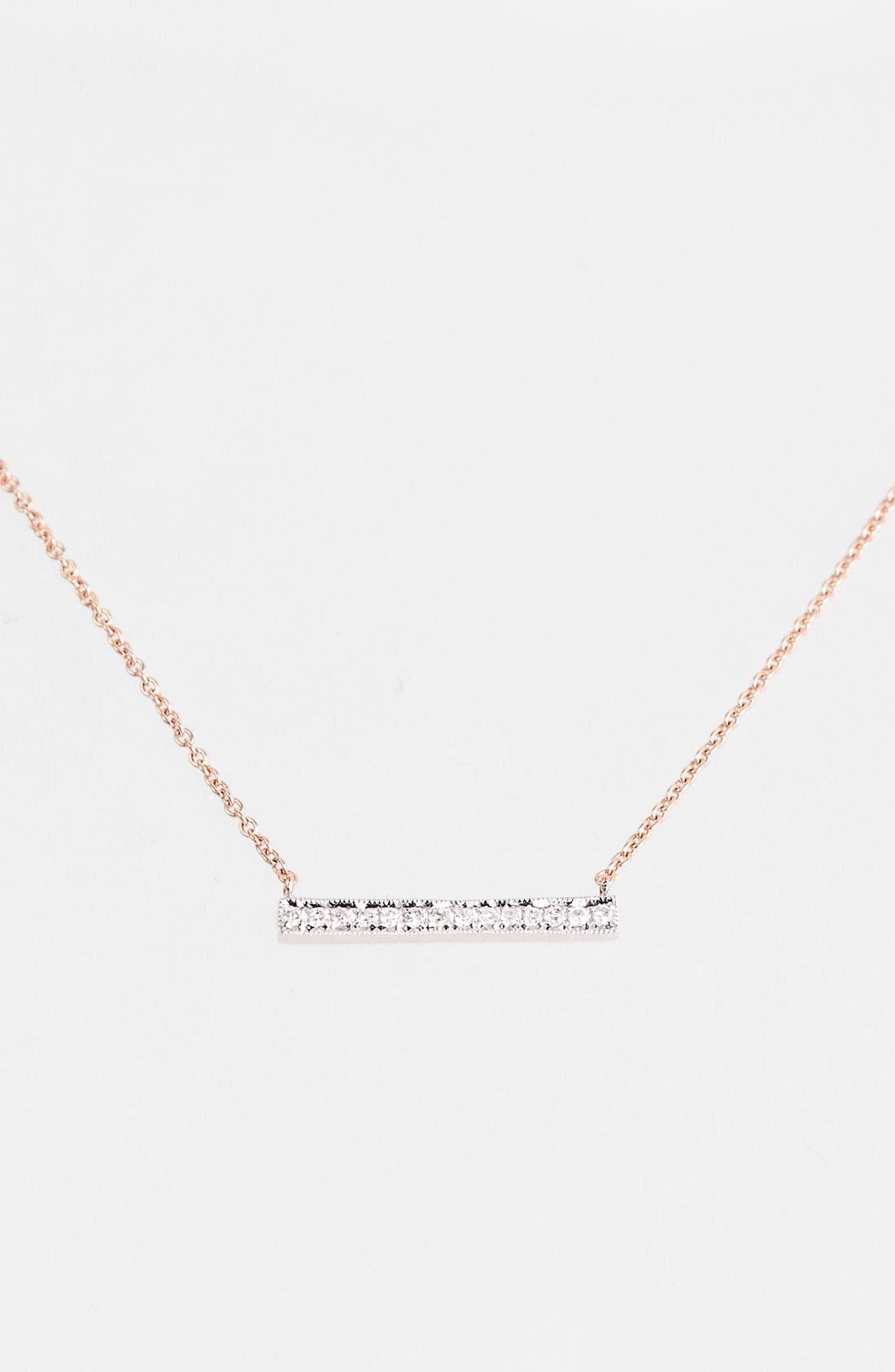 'Sylvie Rose' Medium Diamond Bar Pendant Necklace,                         Main,                         color, Rose Gold