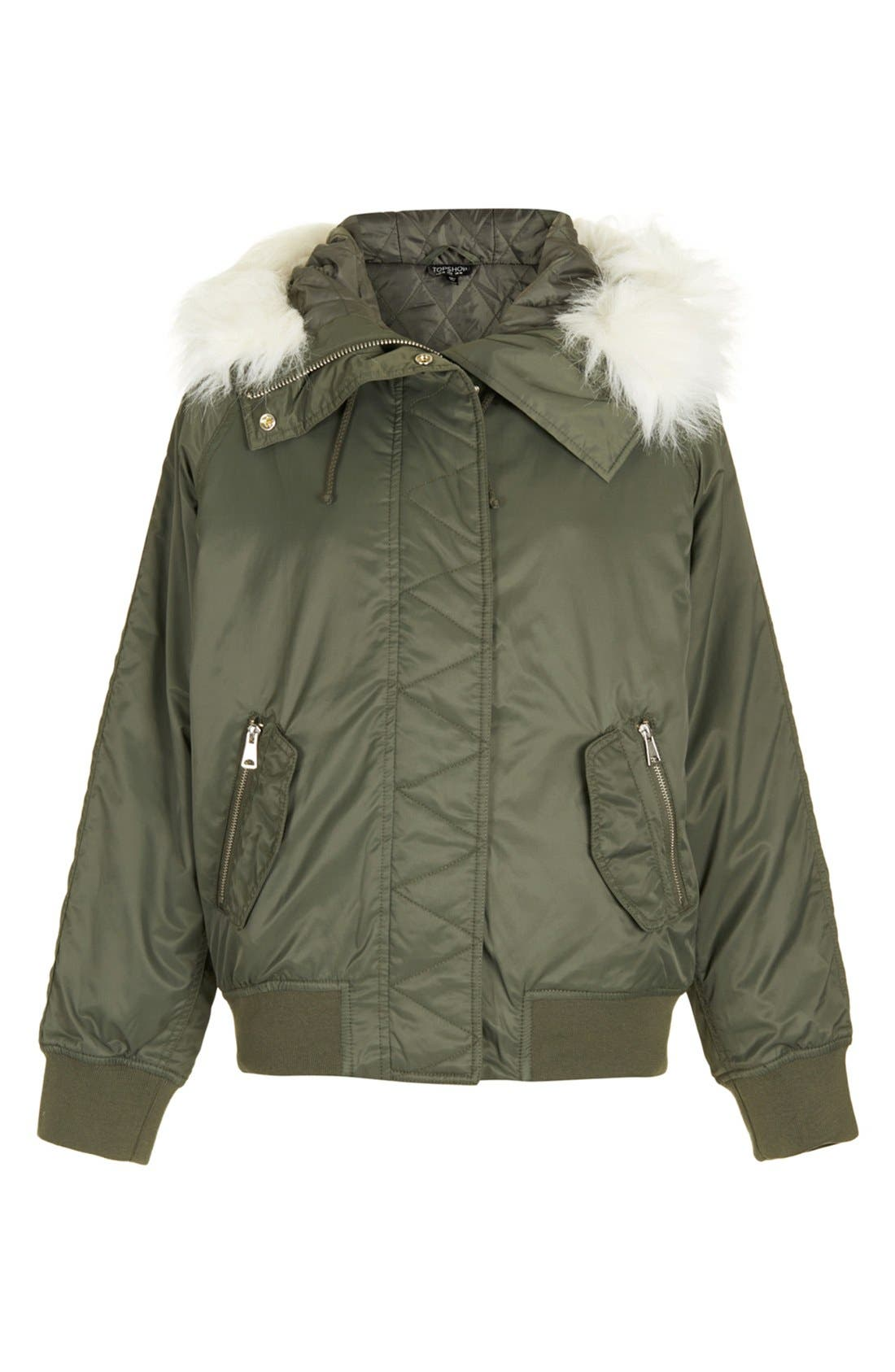 Alternate Image 3  - Topshop Hooded Bomber Jacket with Faux Fur Trim