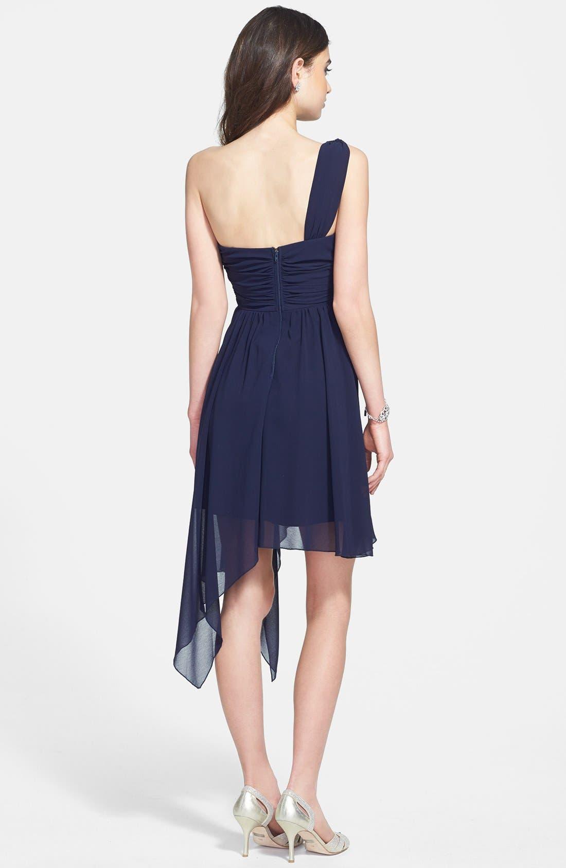 Alternate Image 2  - Way-In Appliqué One-Shoulder Asymmetric Dress (Juniors)