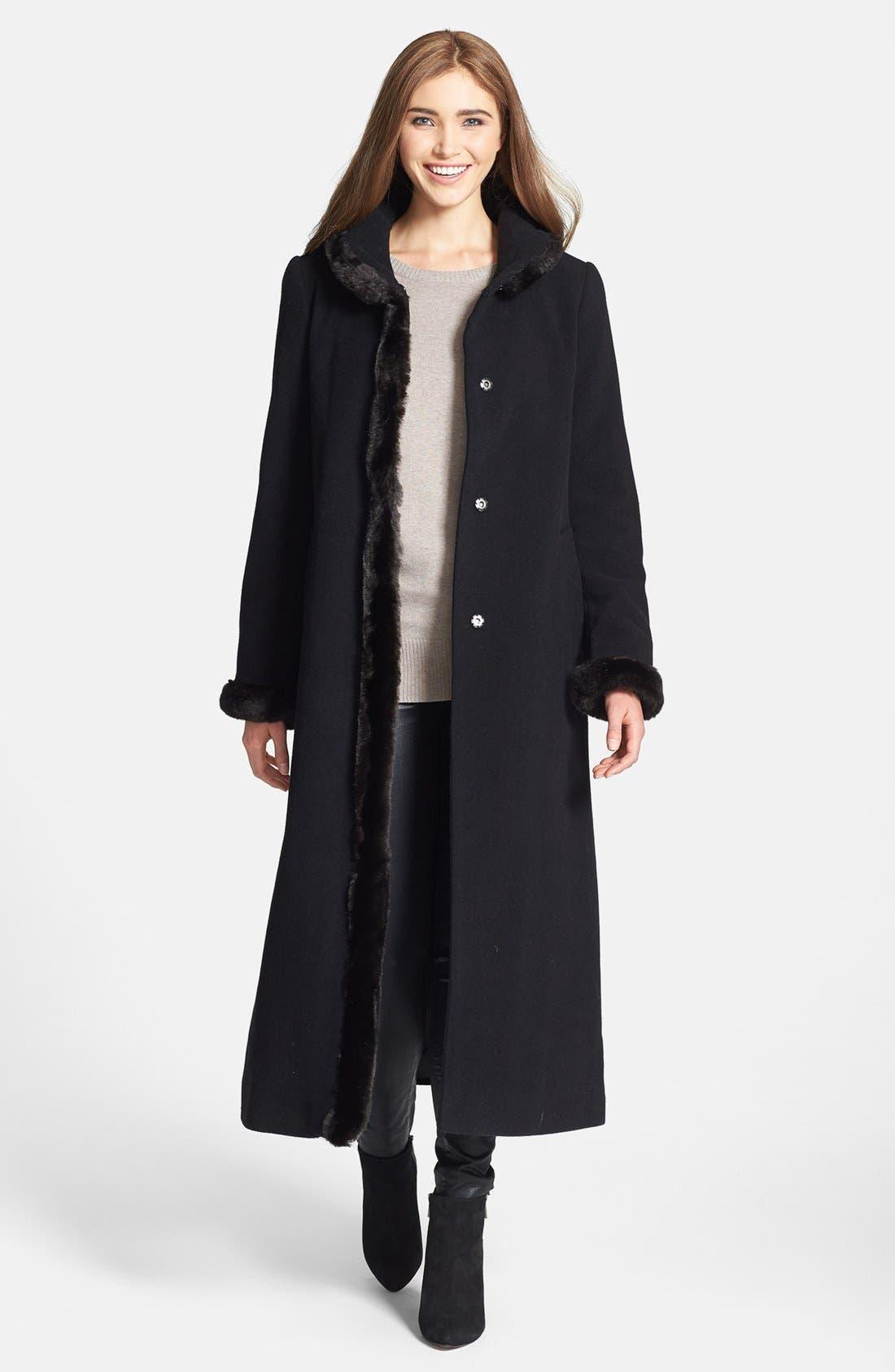 Main Image - Ellen Tracy Faux Fur Trim Long Wool Blend Coat