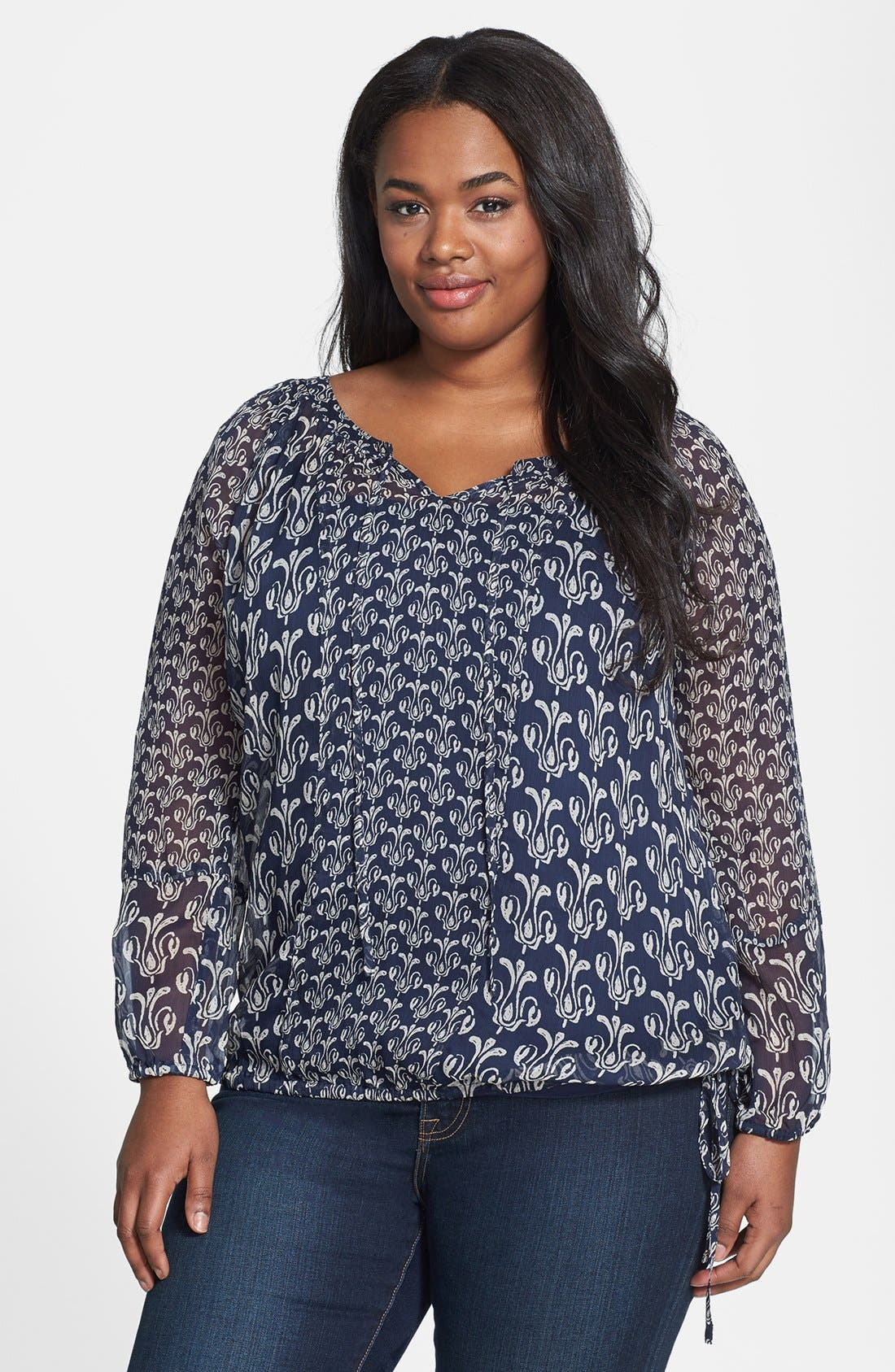 Alternate Image 1 Selected - Lucky Brand 'Calimesa' Mixed Print Blouse (Plus Size)