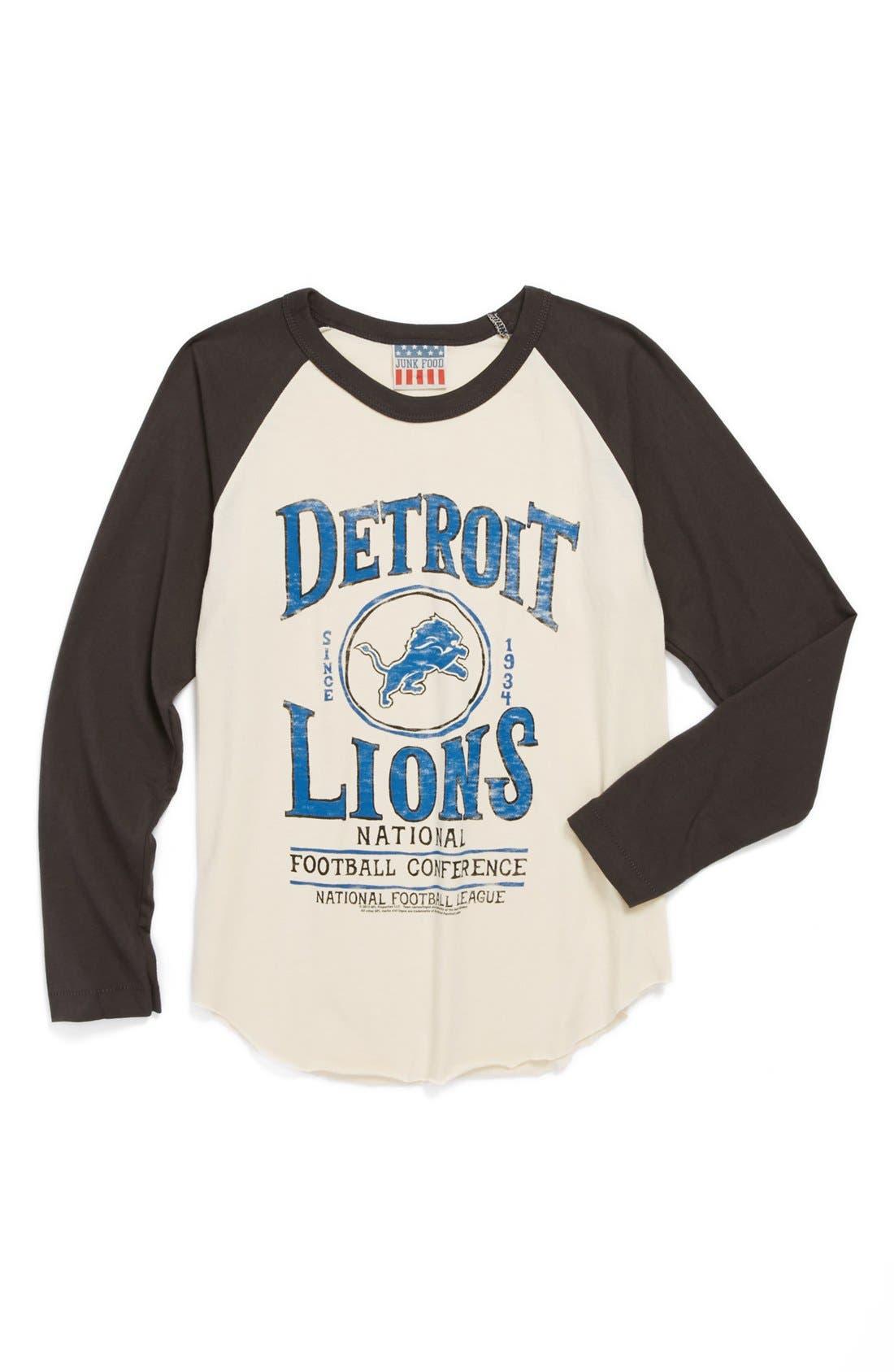 Alternate Image 1 Selected - Junk Food 'Detroit Lions' Raglan Long Sleeve T-Shirt (Toddler Boys)